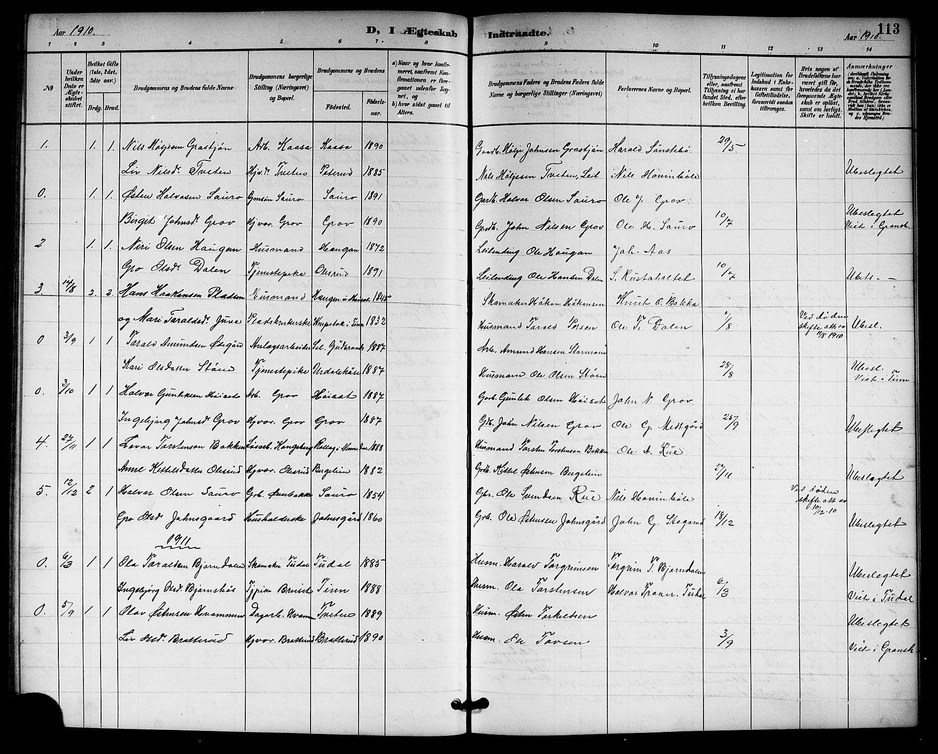 SAKO, Gransherad kirkebøker, G/Gb/L0003: Klokkerbok nr. II 3, 1887-1921, s. 113