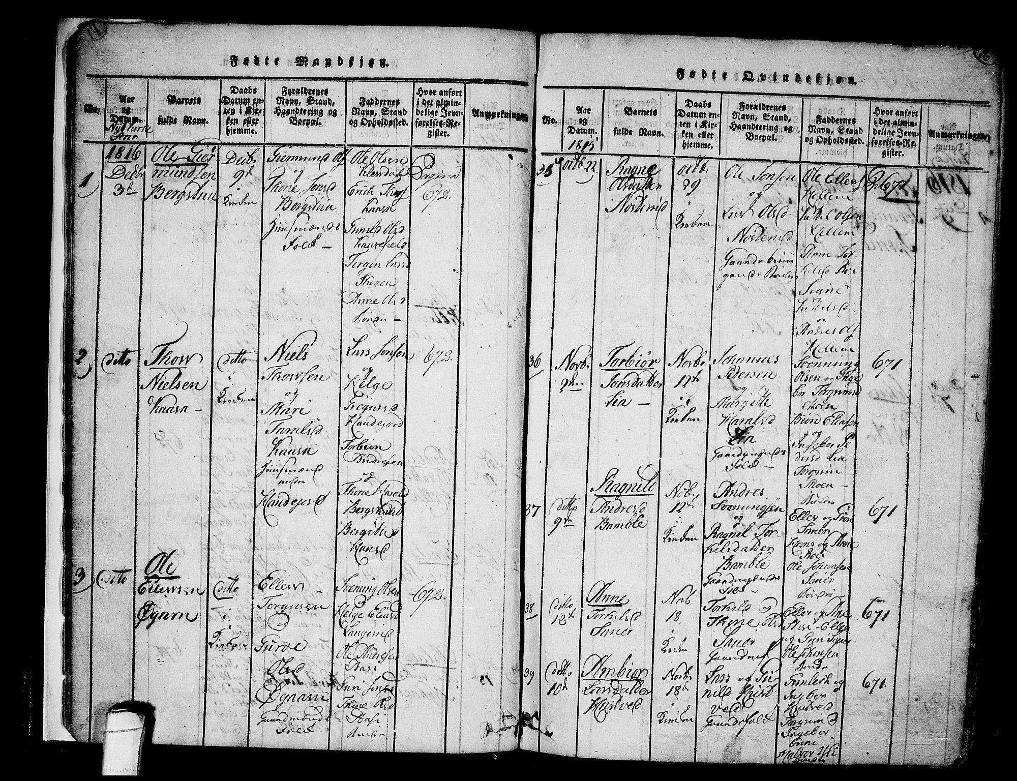 SAKO, Heddal kirkebøker, F/Fa/L0005: Ministerialbok nr. I 5, 1814-1837, s. 15-16
