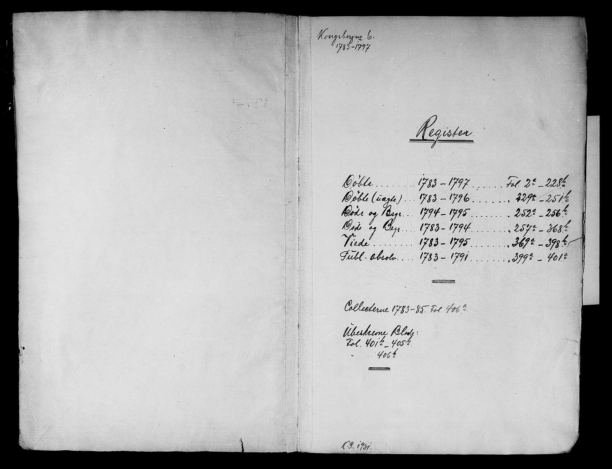 SAKO, Kongsberg kirkebøker, F/Fa/L0006: Ministerialbok nr. I 6, 1783-1797