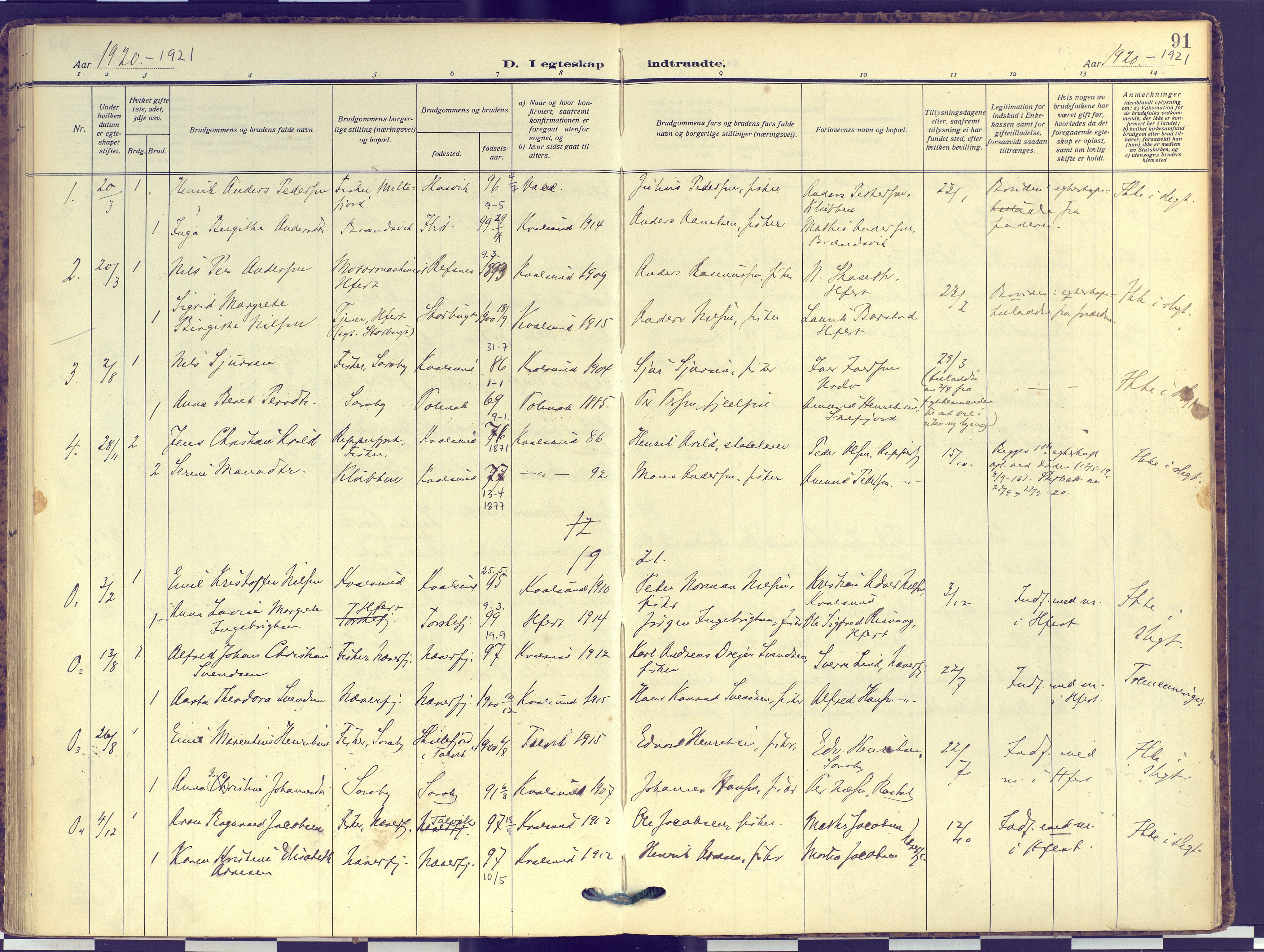 SATØ, Hammerfest sokneprestembete, Ministerialbok nr. 16, 1908-1923, s. 91