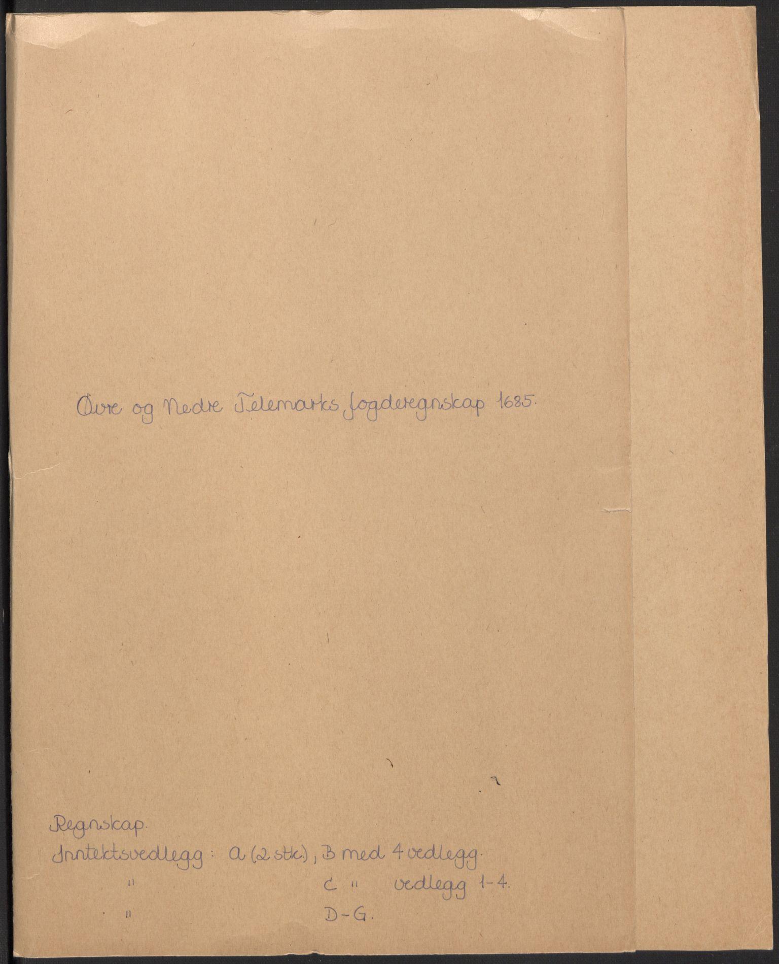RA, Rentekammeret inntil 1814, Reviderte regnskaper, Fogderegnskap, R35/L2082: Fogderegnskap Øvre og Nedre Telemark, 1685, s. 2