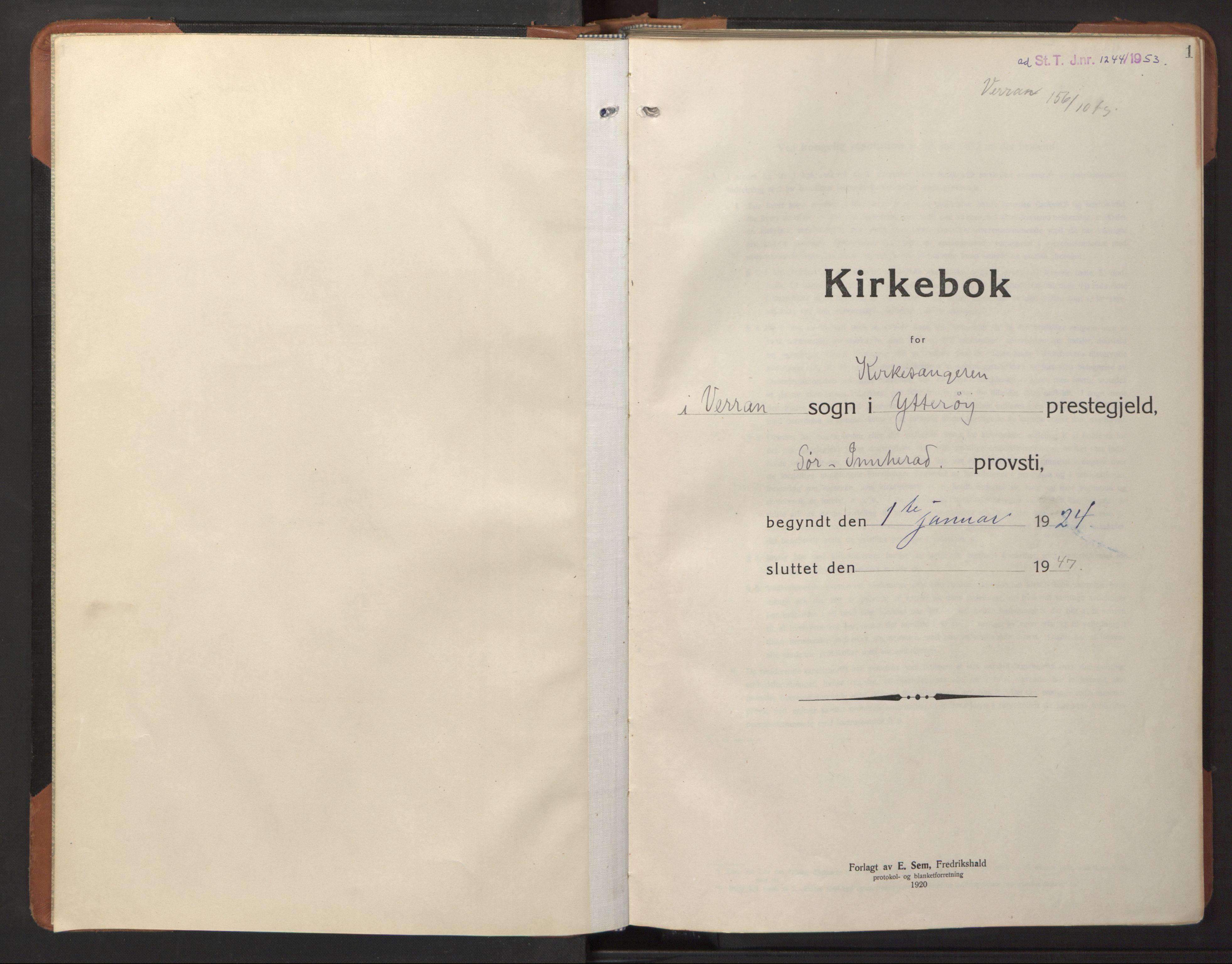 SAT, Ministerialprotokoller, klokkerbøker og fødselsregistre - Nord-Trøndelag, 744/L0425: Klokkerbok nr. 744C04, 1924-1947, s. 1