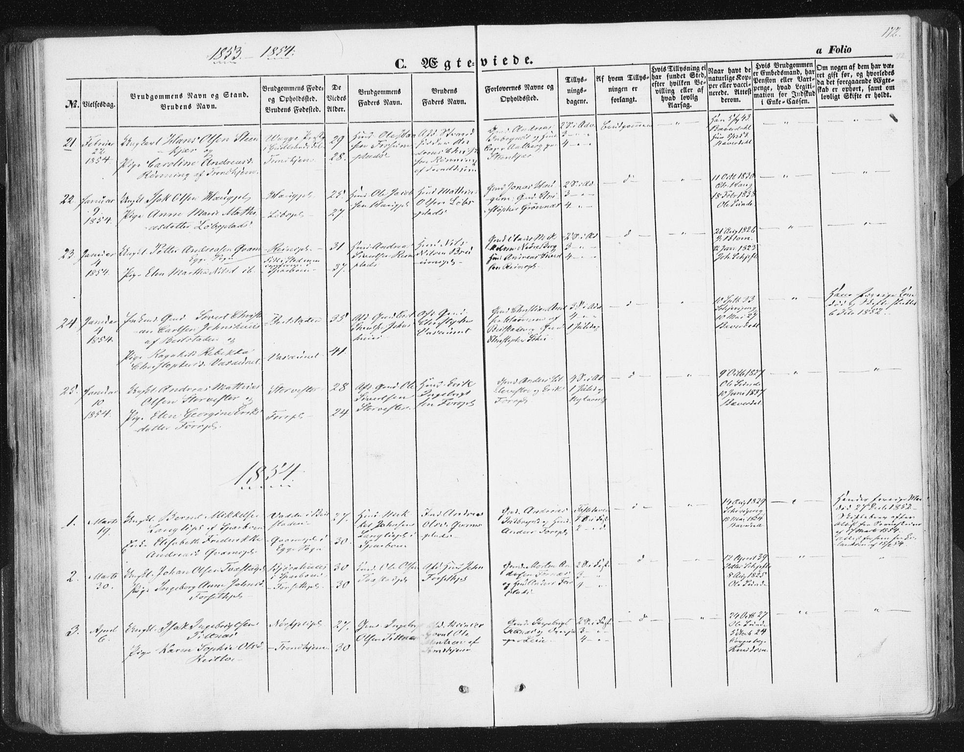 SAT, Ministerialprotokoller, klokkerbøker og fødselsregistre - Nord-Trøndelag, 746/L0446: Ministerialbok nr. 746A05, 1846-1859, s. 172