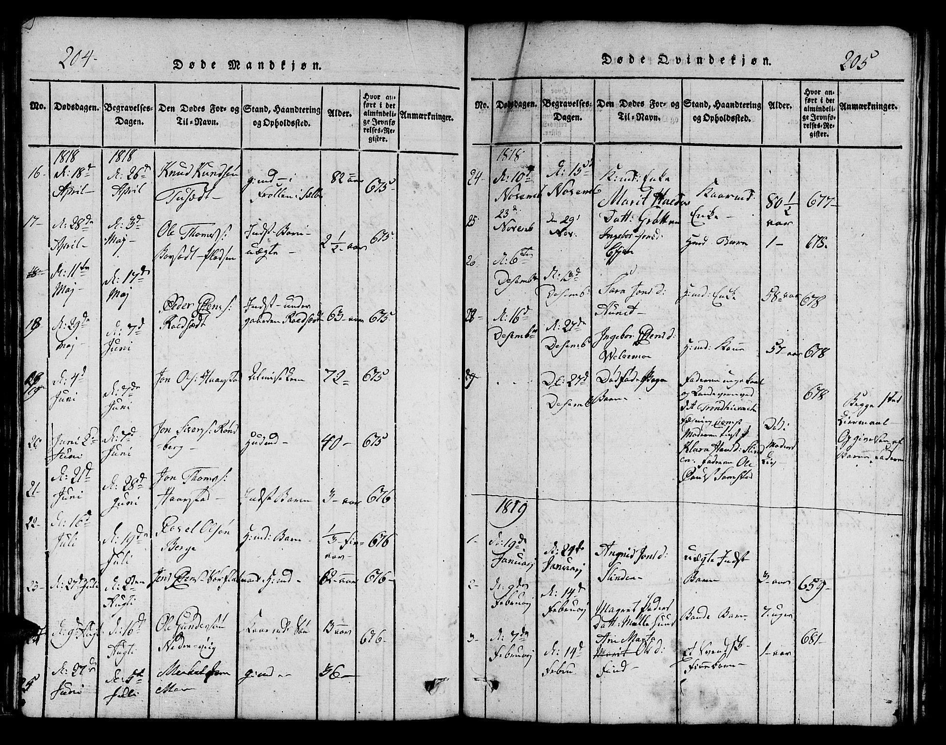 SAT, Ministerialprotokoller, klokkerbøker og fødselsregistre - Sør-Trøndelag, 695/L1152: Klokkerbok nr. 695C03, 1816-1831, s. 204-205