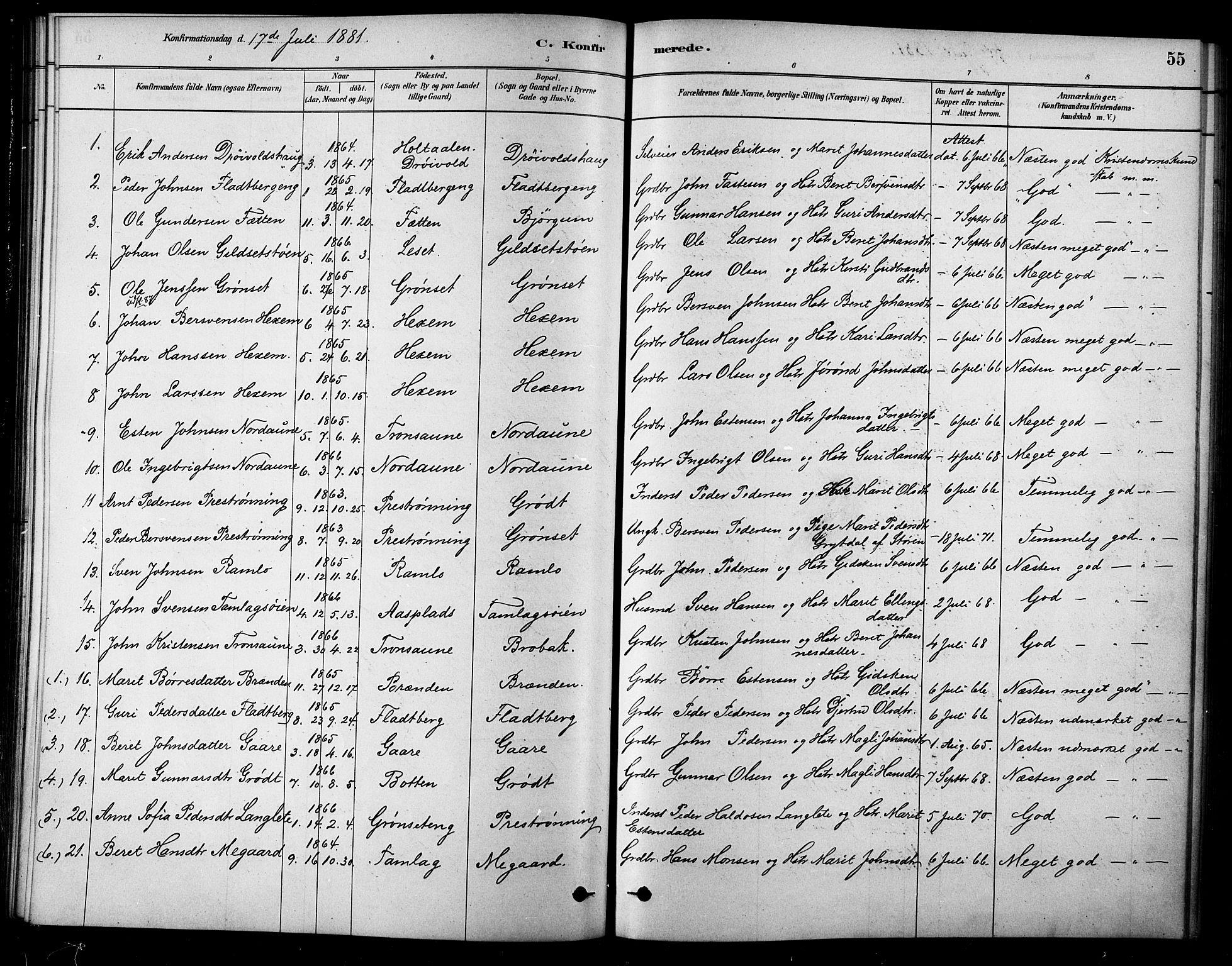 SAT, Ministerialprotokoller, klokkerbøker og fødselsregistre - Sør-Trøndelag, 685/L0972: Ministerialbok nr. 685A09, 1879-1890, s. 55