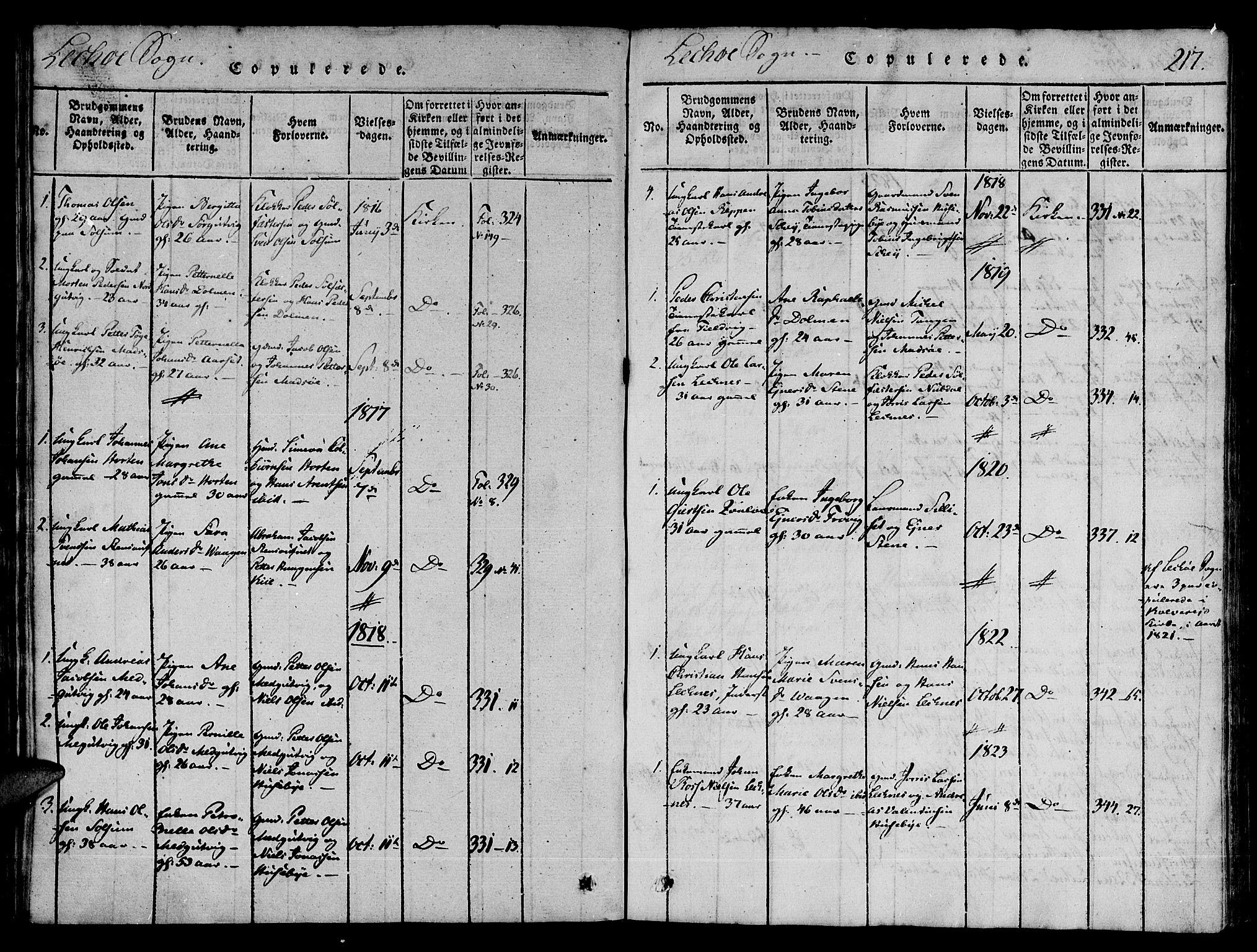 SAT, Ministerialprotokoller, klokkerbøker og fødselsregistre - Nord-Trøndelag, 780/L0636: Ministerialbok nr. 780A03 /2, 1815-1829, s. 217