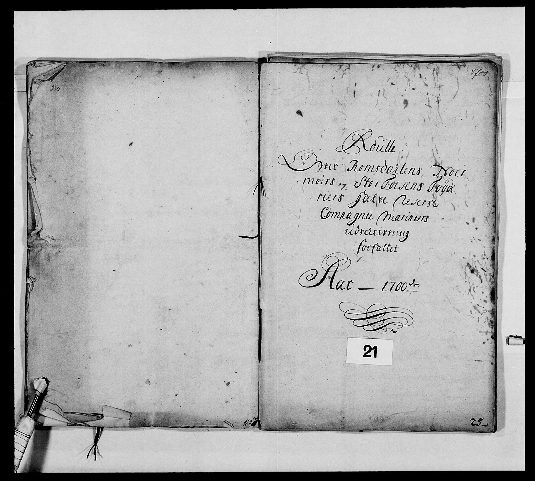RA, Kommanderende general (KG I) med Det norske krigsdirektorium, E/Ea/L0473: Marineregimentet, 1664-1700, s. 262