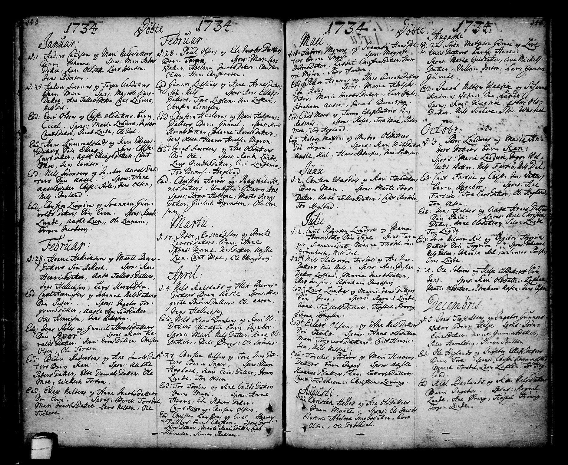SAKO, Sannidal kirkebøker, F/Fa/L0001: Ministerialbok nr. 1, 1702-1766, s. 144-145