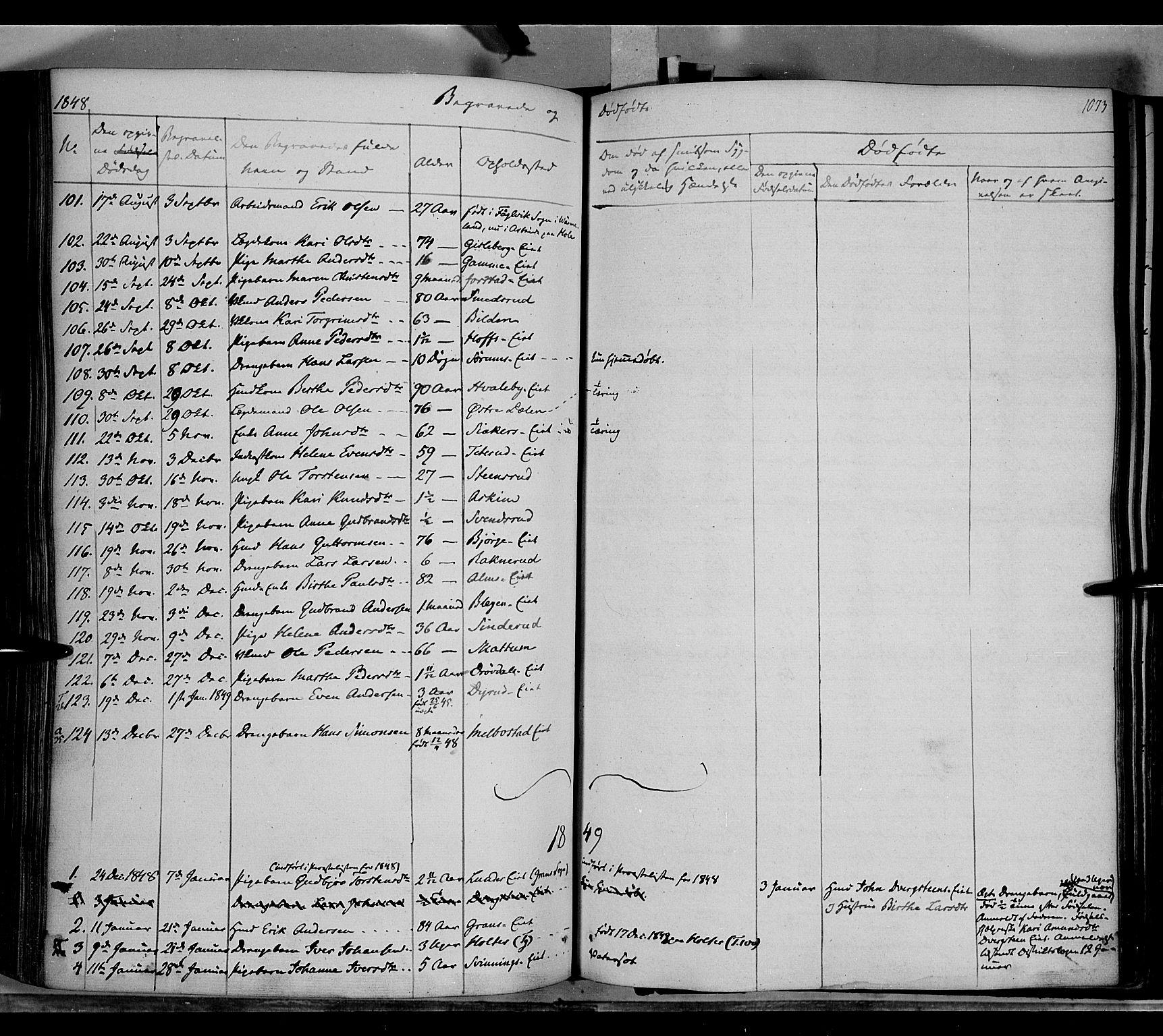 SAH, Gran prestekontor, Ministerialbok nr. 11, 1842-1856, s. 1072-1073