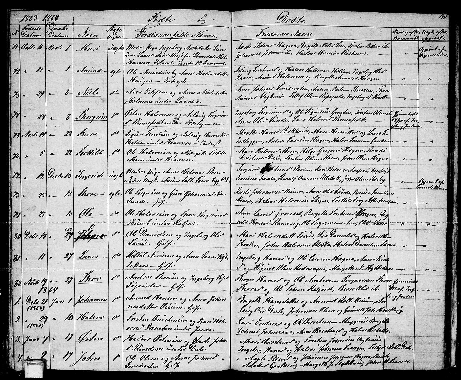 SAKO, Sauherad kirkebøker, G/Ga/L0002: Klokkerbok nr. I 2, 1842-1866, s. 145