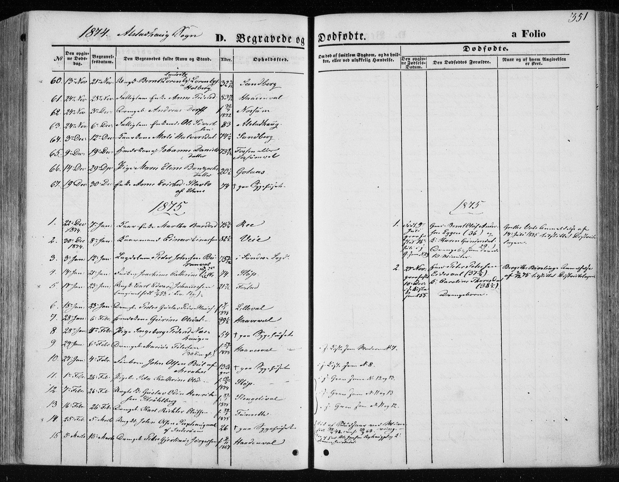 SAT, Ministerialprotokoller, klokkerbøker og fødselsregistre - Nord-Trøndelag, 717/L0157: Ministerialbok nr. 717A08 /1, 1863-1877, s. 351