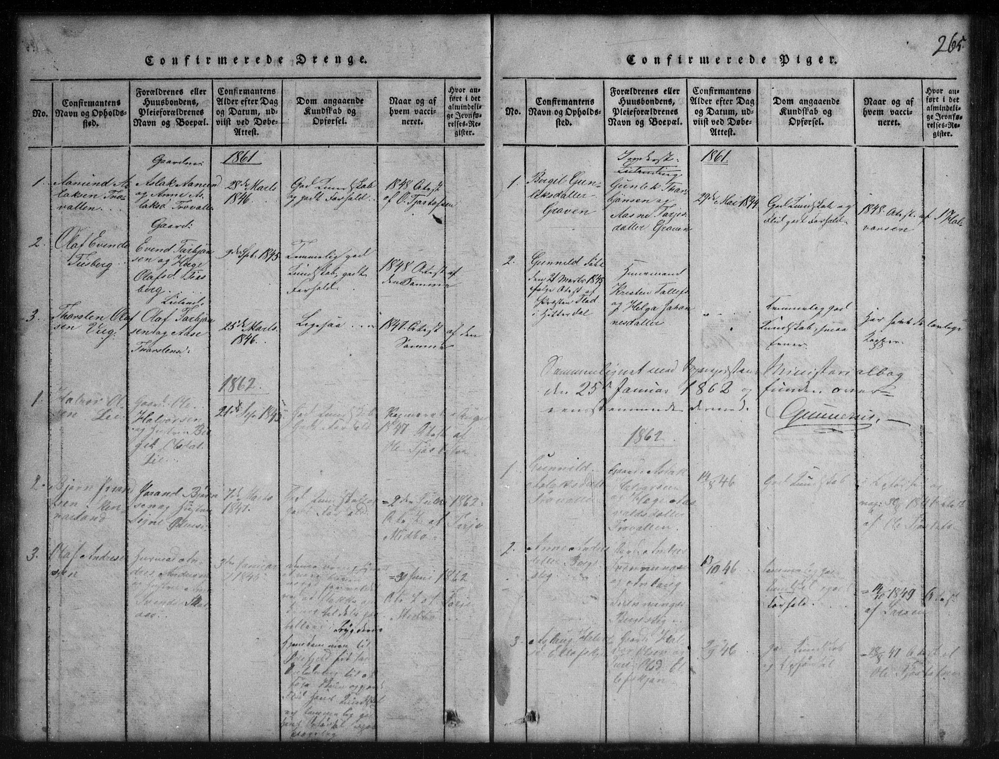 SAKO, Rauland kirkebøker, G/Gb/L0001: Klokkerbok nr. II 1, 1815-1886, s. 265