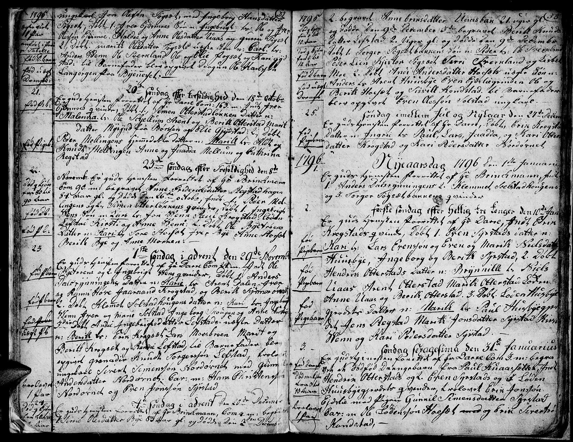 SAT, Ministerialprotokoller, klokkerbøker og fødselsregistre - Sør-Trøndelag, 667/L0794: Ministerialbok nr. 667A02, 1791-1816, s. 32-33
