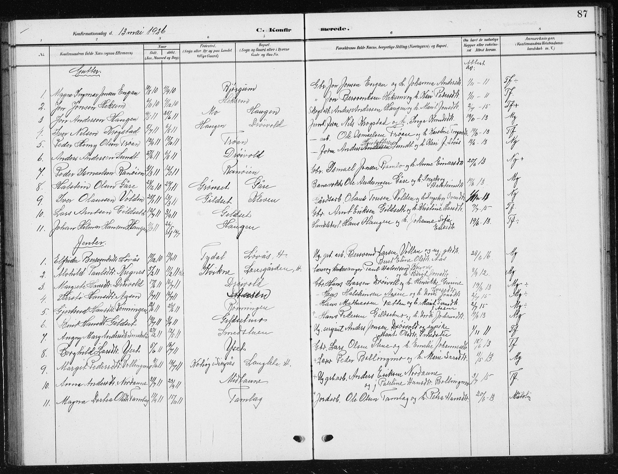 SAT, Ministerialprotokoller, klokkerbøker og fødselsregistre - Sør-Trøndelag, 685/L0979: Klokkerbok nr. 685C04, 1908-1933, s. 87