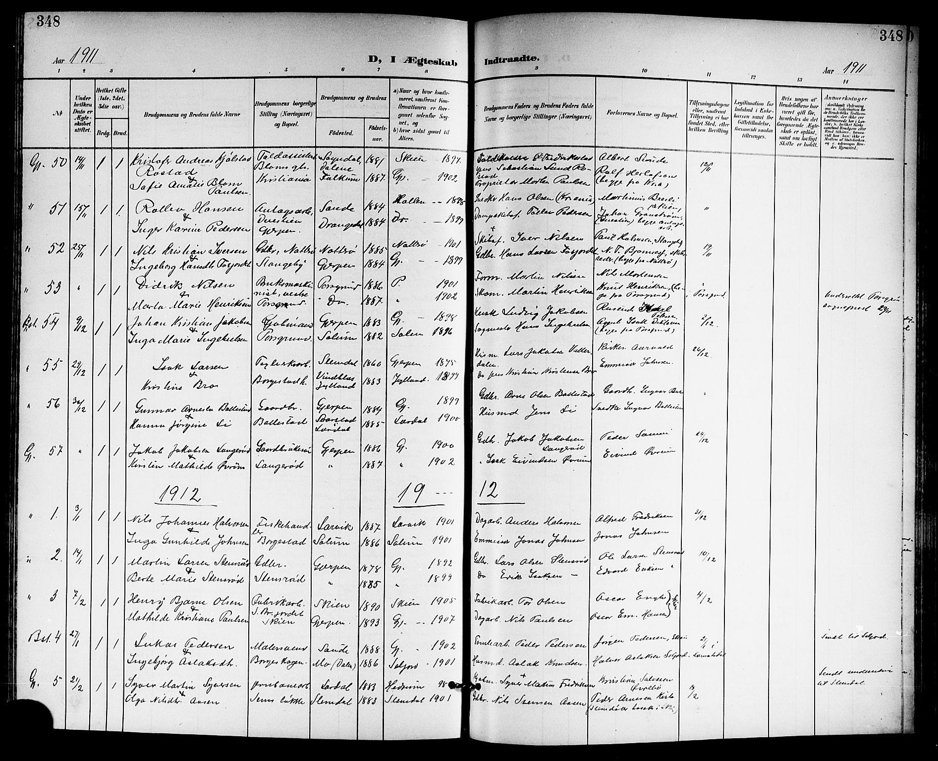 SAKO, Gjerpen kirkebøker, G/Ga/L0003: Klokkerbok nr. I 3, 1901-1919, s. 348