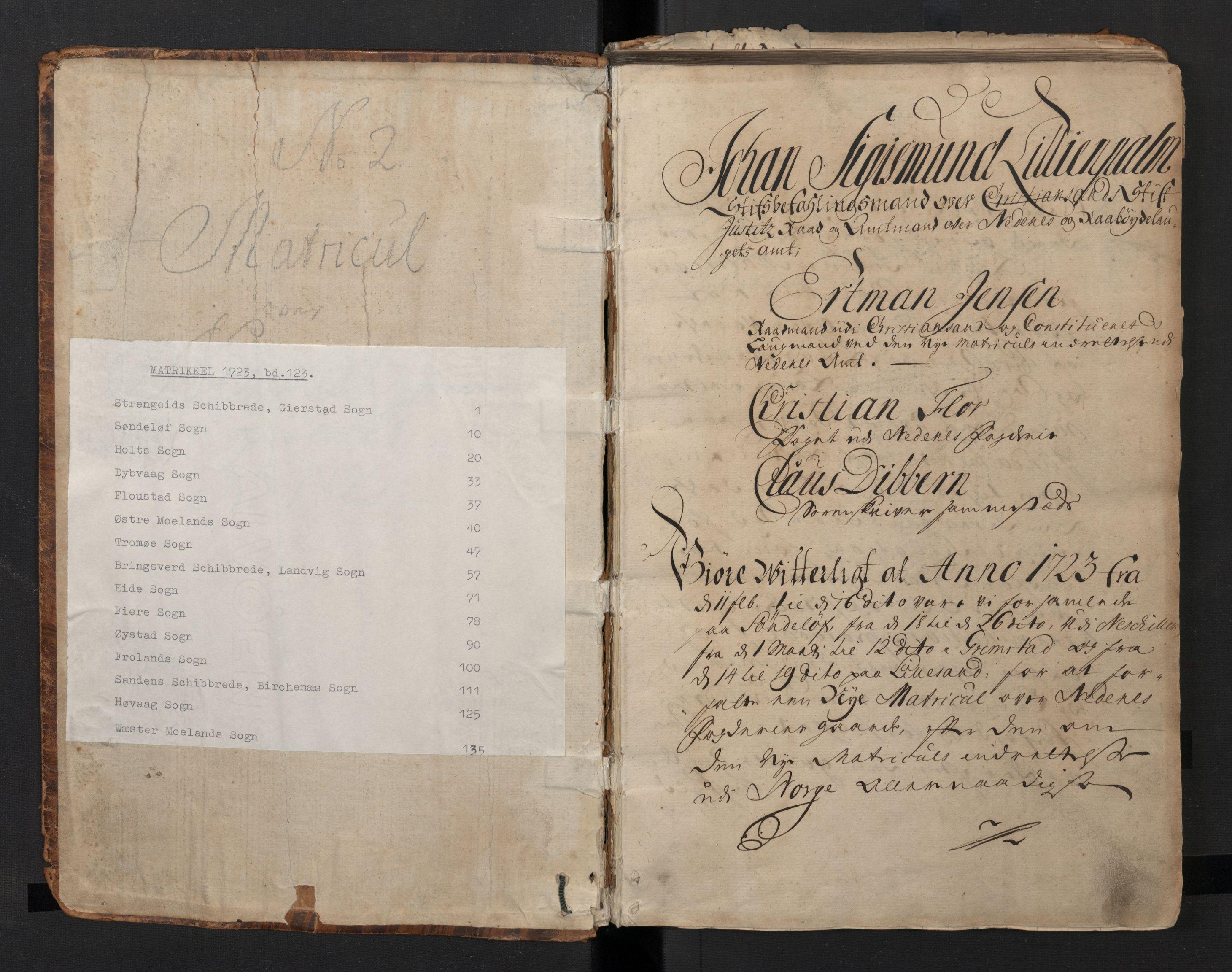 RA, Rentekammeret inntil 1814, Realistisk ordnet avdeling, N/Nb/Nbf/L0123: Nedenes matrikkelprotokoll, 1723, s. upaginert