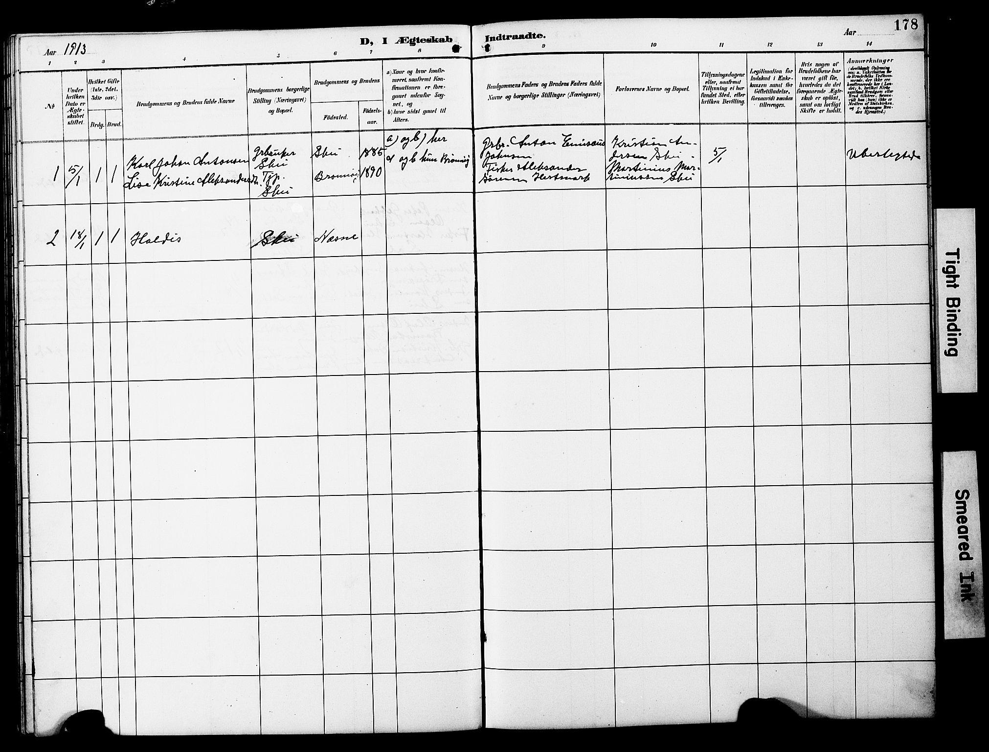 SAT, Ministerialprotokoller, klokkerbøker og fødselsregistre - Nord-Trøndelag, 788/L0701: Klokkerbok nr. 788C01, 1888-1913, s. 178