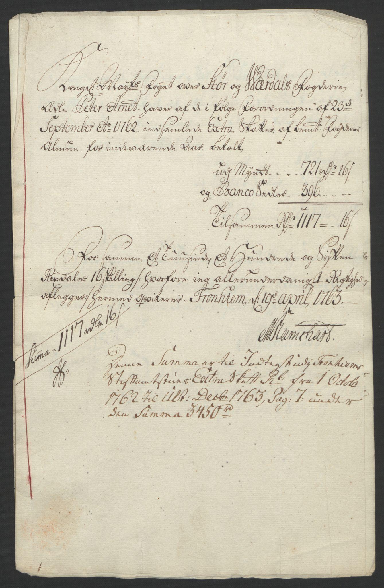 RA, Rentekammeret inntil 1814, Reviderte regnskaper, Fogderegnskap, R62/L4303: Ekstraskatten Stjørdal og Verdal, 1762-1763, s. 413