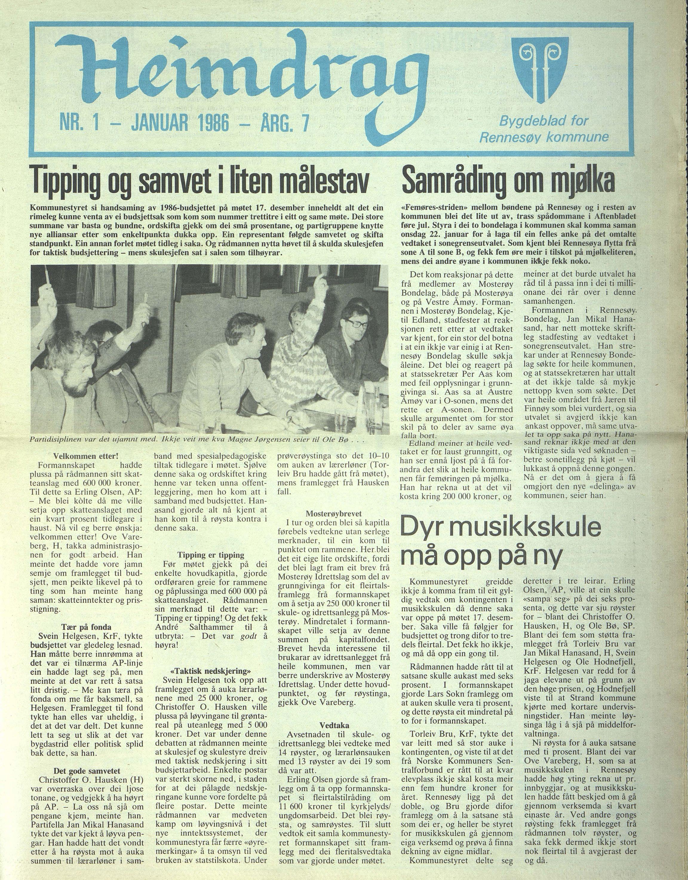 BYST, Rennesøy kommune. Heimdrag, lokalavis, X/Xa/L0008: Heimdrag 1986, 1986