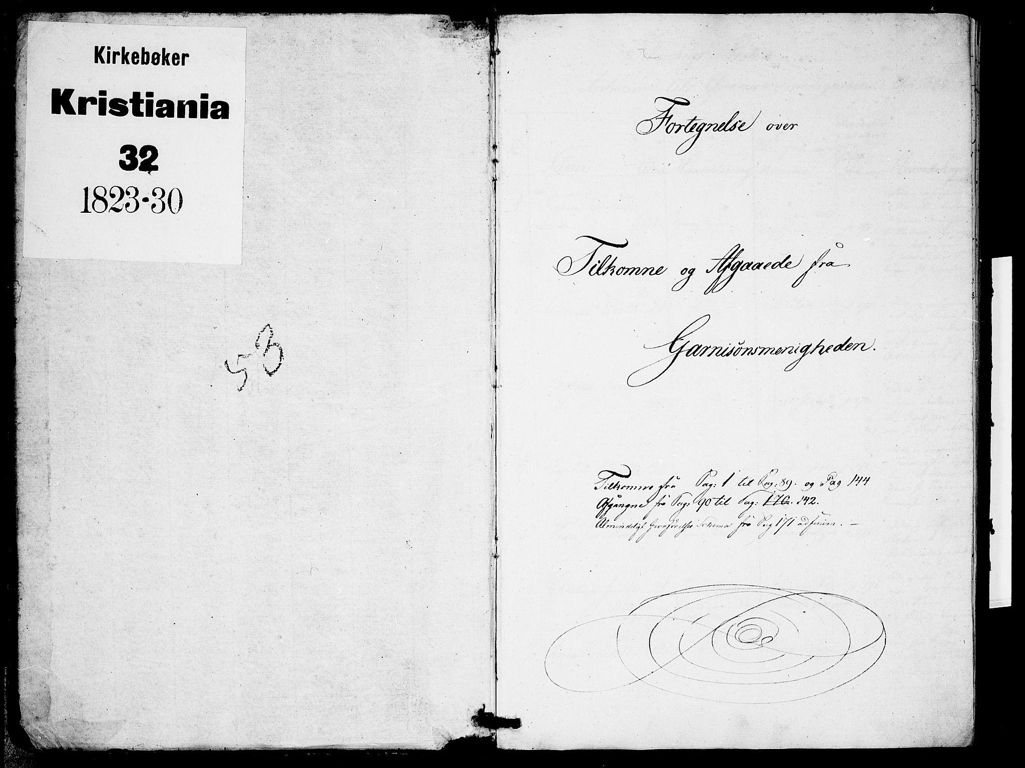 SAO, Garnisonsmenigheten Kirkebøker, F/Fa/L0005: Ministerialbok nr. 5, 1824-1830