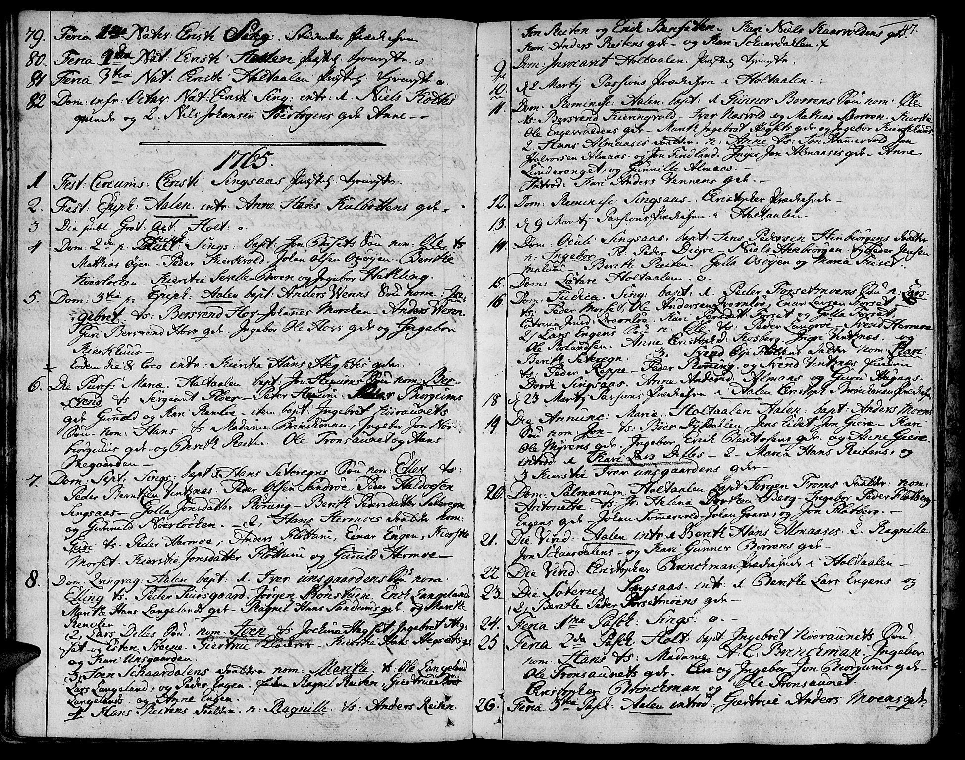 SAT, Ministerialprotokoller, klokkerbøker og fødselsregistre - Sør-Trøndelag, 685/L0952: Ministerialbok nr. 685A01, 1745-1804, s. 47