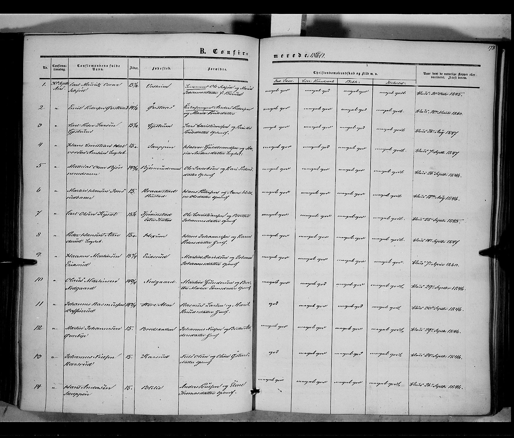 SAH, Vestre Toten prestekontor, H/Ha/Haa/L0006: Ministerialbok nr. 6, 1856-1861, s. 178