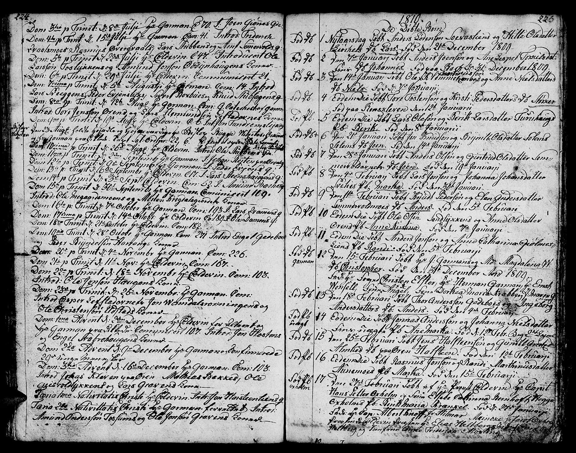 SAT, Ministerialprotokoller, klokkerbøker og fødselsregistre - Sør-Trøndelag, 668/L0815: Klokkerbok nr. 668C04, 1791-1815, s. 224-225