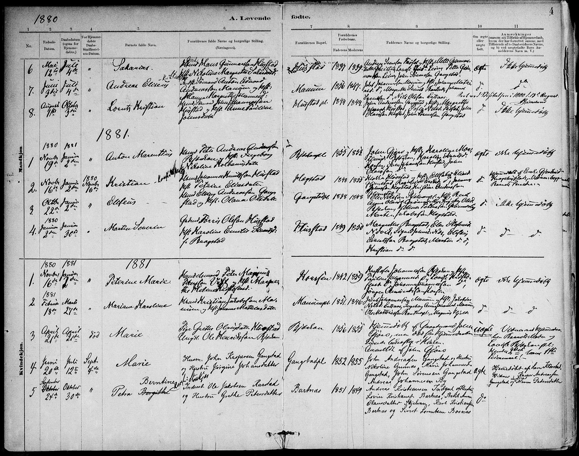 SAT, Ministerialprotokoller, klokkerbøker og fødselsregistre - Nord-Trøndelag, 732/L0316: Ministerialbok nr. 732A01, 1879-1921, s. 4