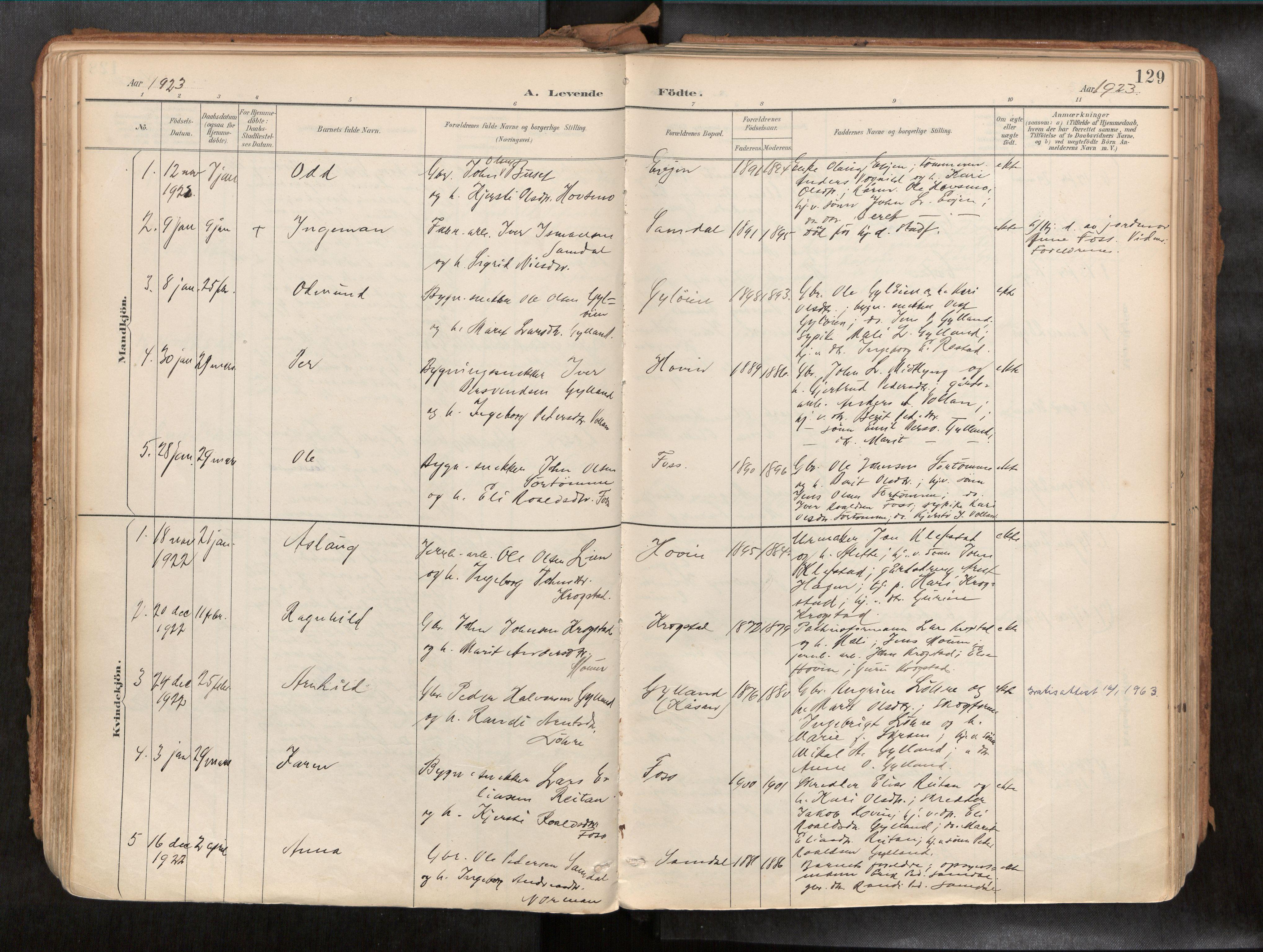 SAT, Ministerialprotokoller, klokkerbøker og fødselsregistre - Sør-Trøndelag, 692/L1105b: Ministerialbok nr. 692A06, 1891-1934, s. 129