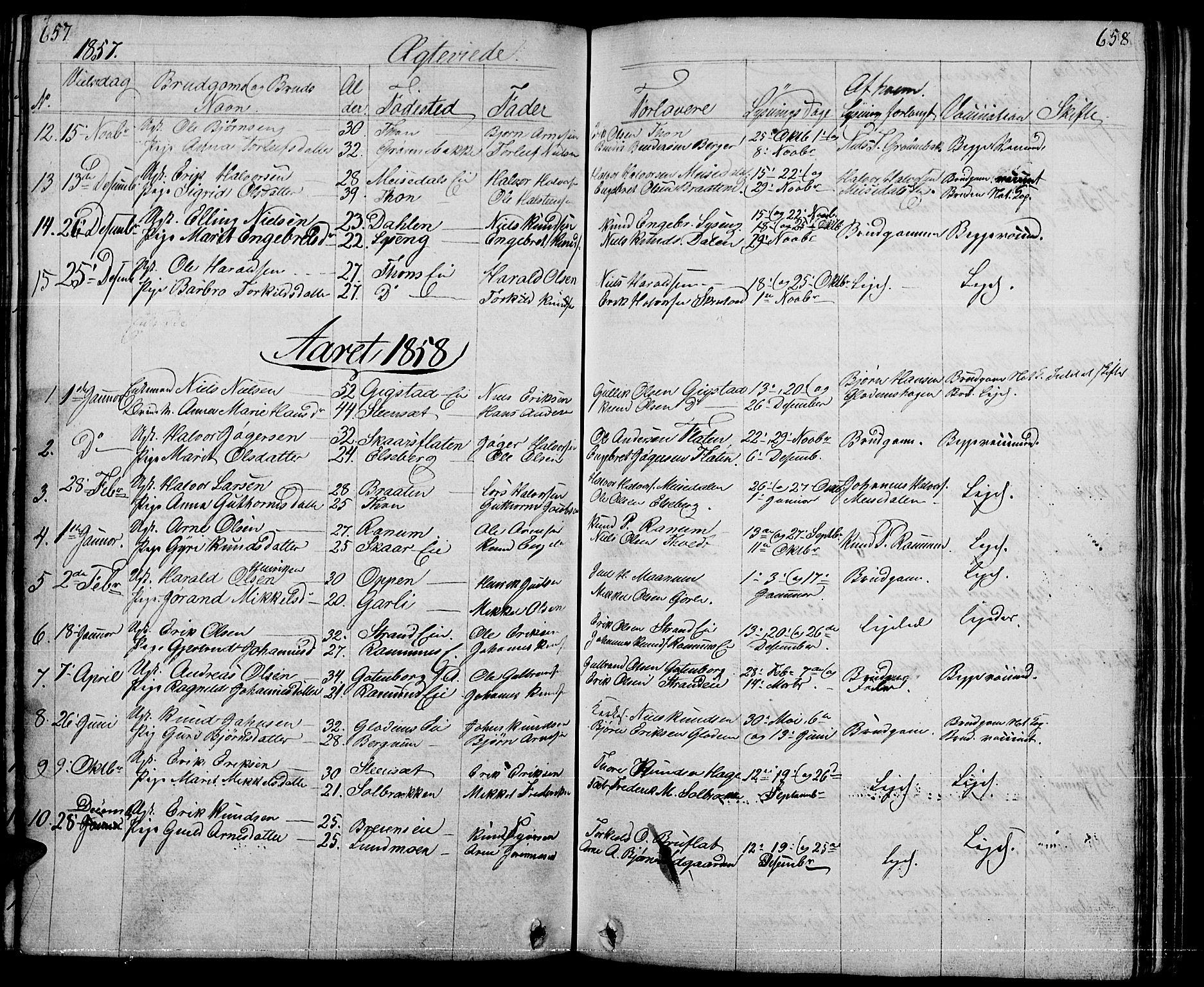 SAH, Nord-Aurdal prestekontor, Klokkerbok nr. 1, 1834-1887, s. 657-658