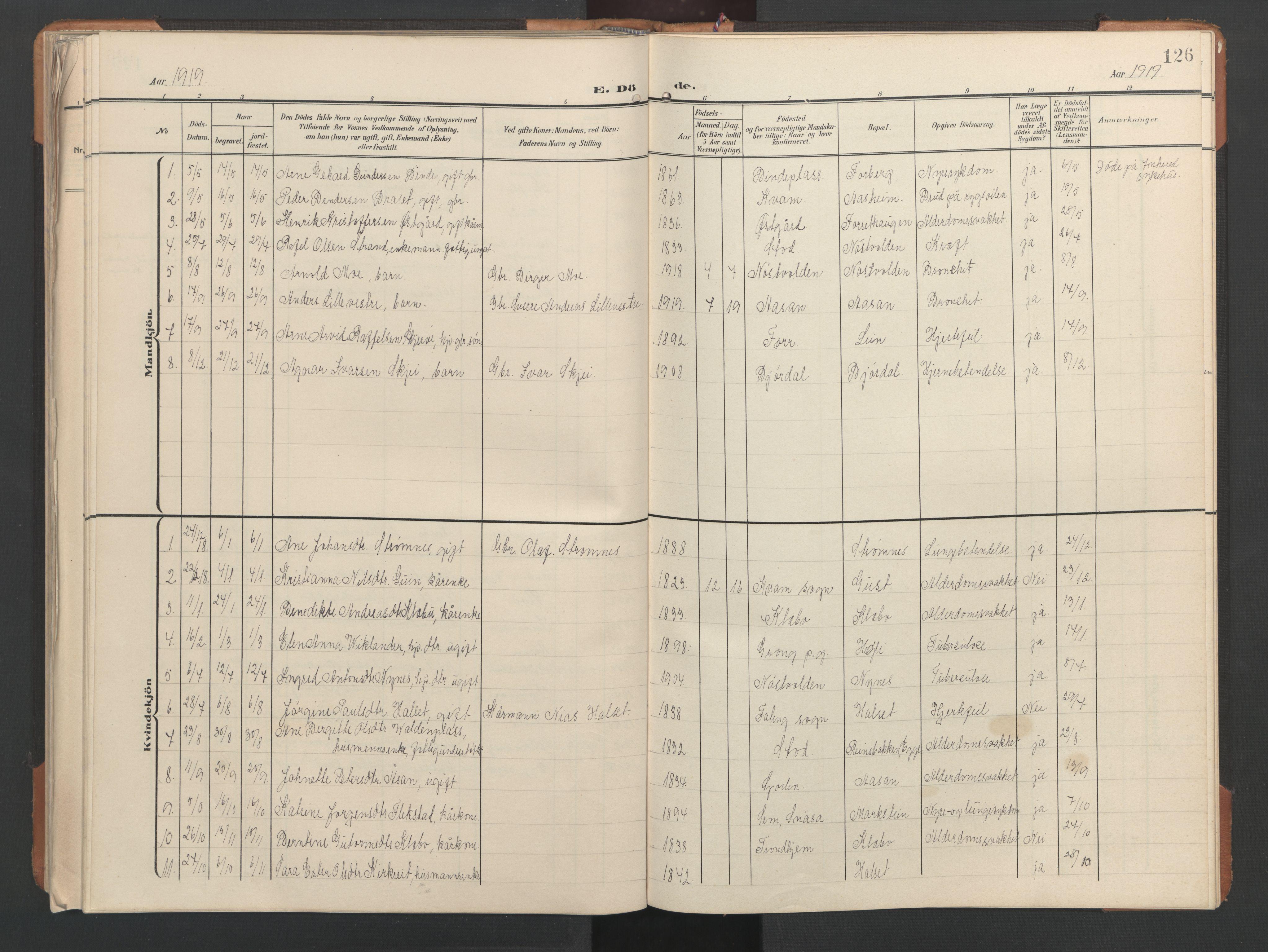 SAT, Ministerialprotokoller, klokkerbøker og fødselsregistre - Nord-Trøndelag, 746/L0455: Klokkerbok nr. 746C01, 1908-1933, s. 126