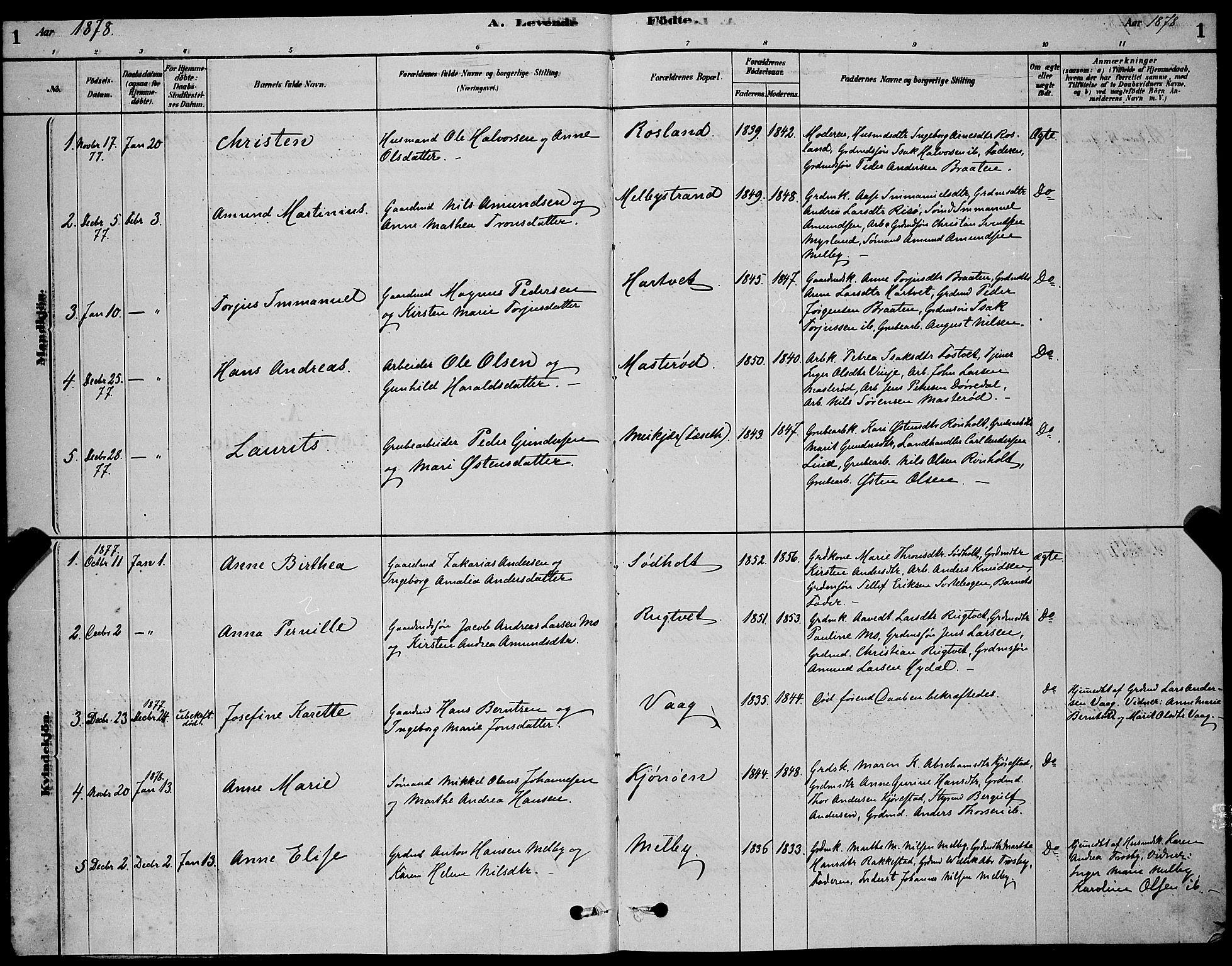 SAKO, Bamble kirkebøker, G/Ga/L0008: Klokkerbok nr. I 8, 1878-1888, s. 1