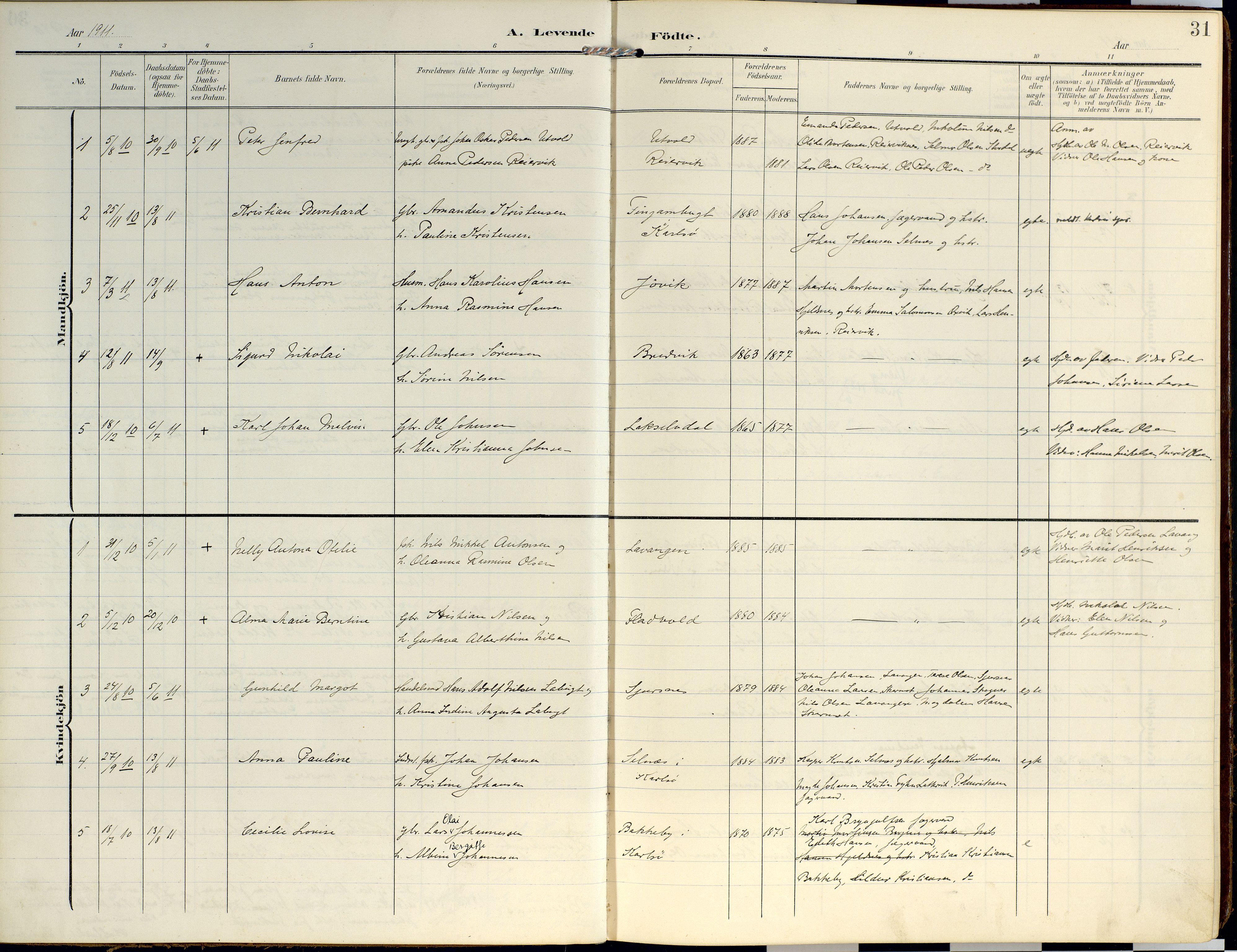 SATØ, Lyngen sokneprestembete, Ministerialbok nr. 14, 1905-1920, s. 31