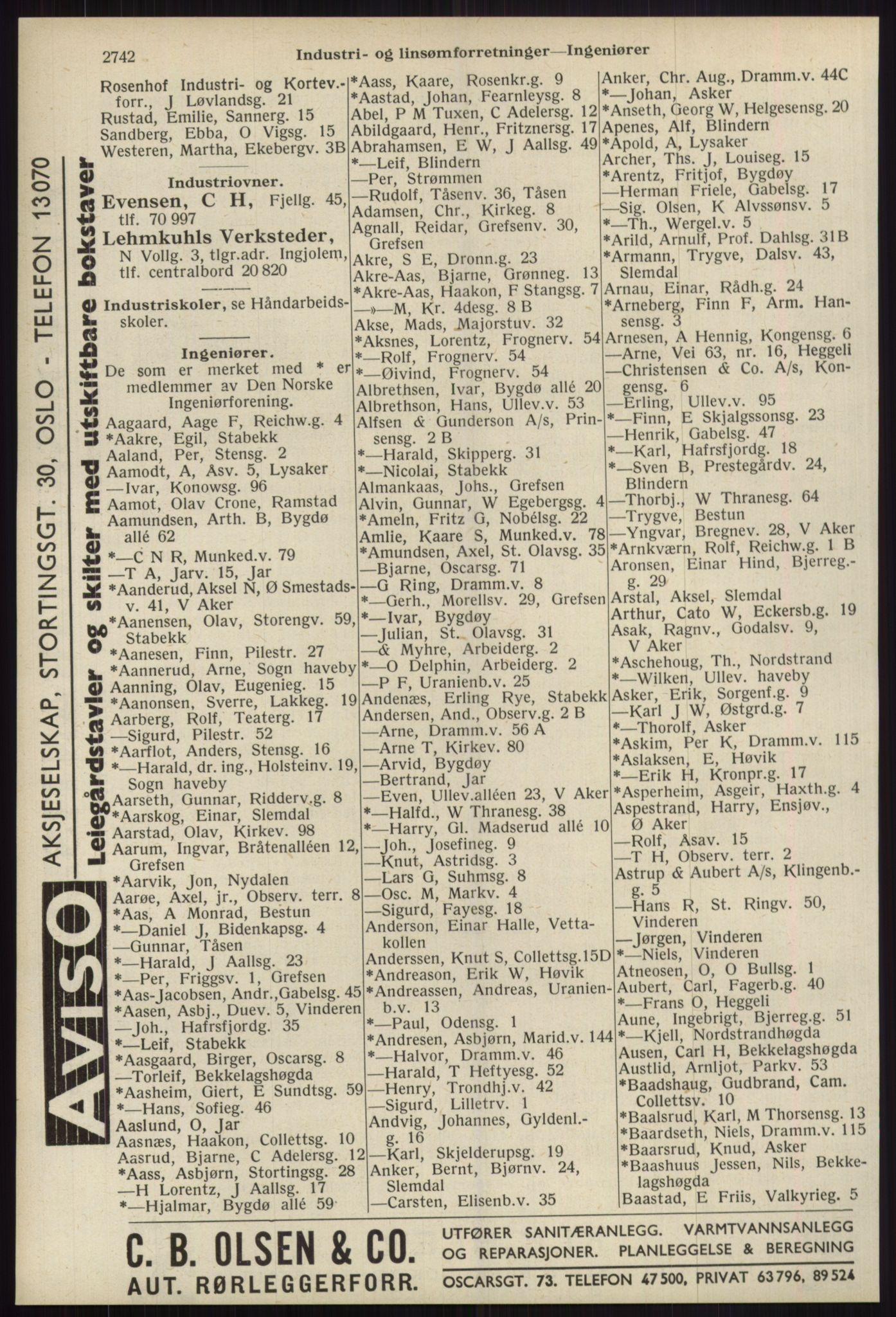 RA, Oslo adressebok (publikasjon)*, 1939, s. 2742