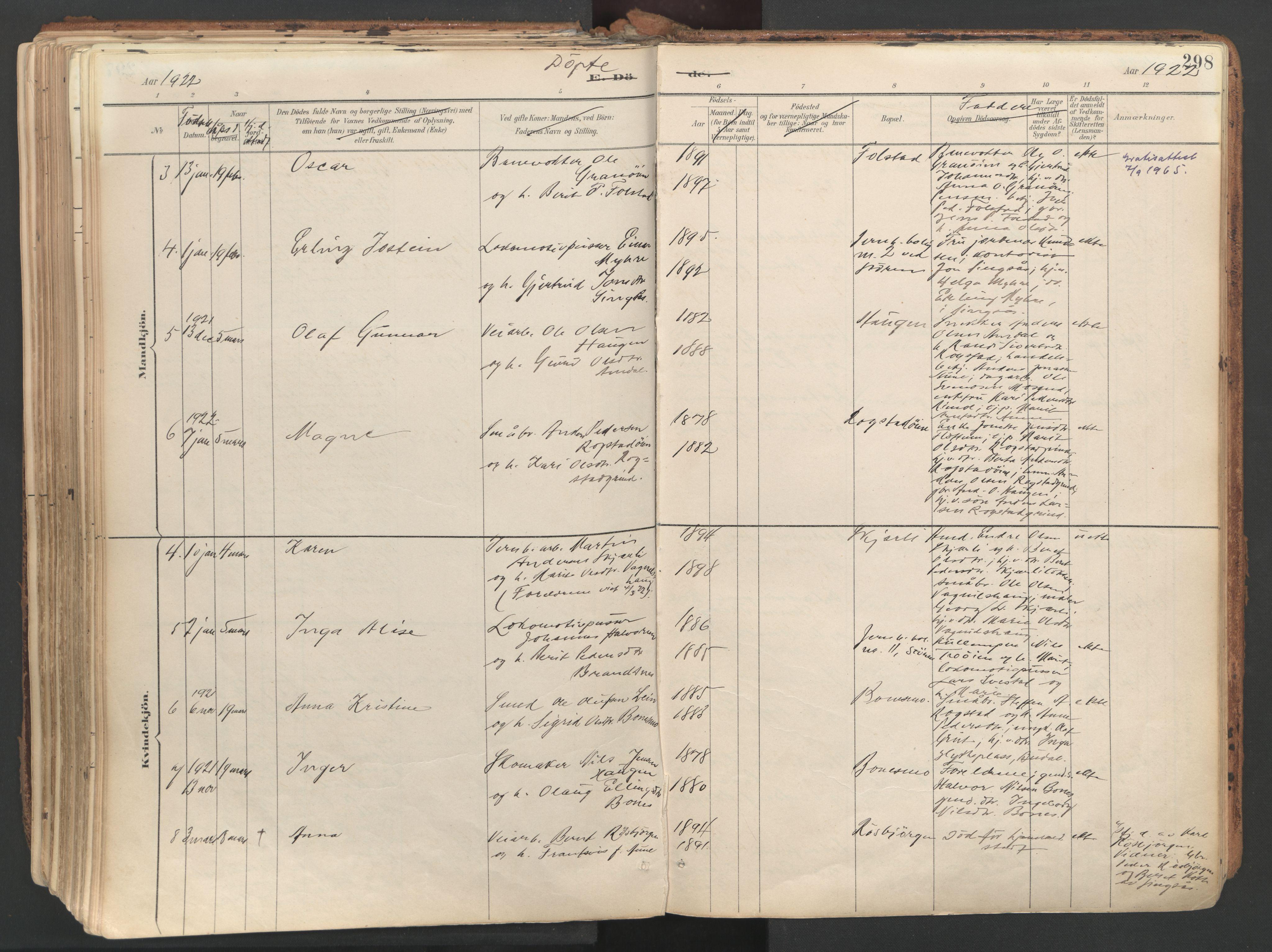 SAT, Ministerialprotokoller, klokkerbøker og fødselsregistre - Sør-Trøndelag, 687/L1004: Ministerialbok nr. 687A10, 1891-1923, s. 298