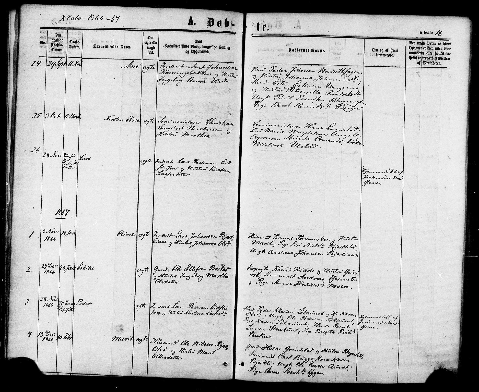 SAT, Ministerialprotokoller, klokkerbøker og fødselsregistre - Sør-Trøndelag, 618/L0442: Ministerialbok nr. 618A06 /1, 1863-1879, s. 18