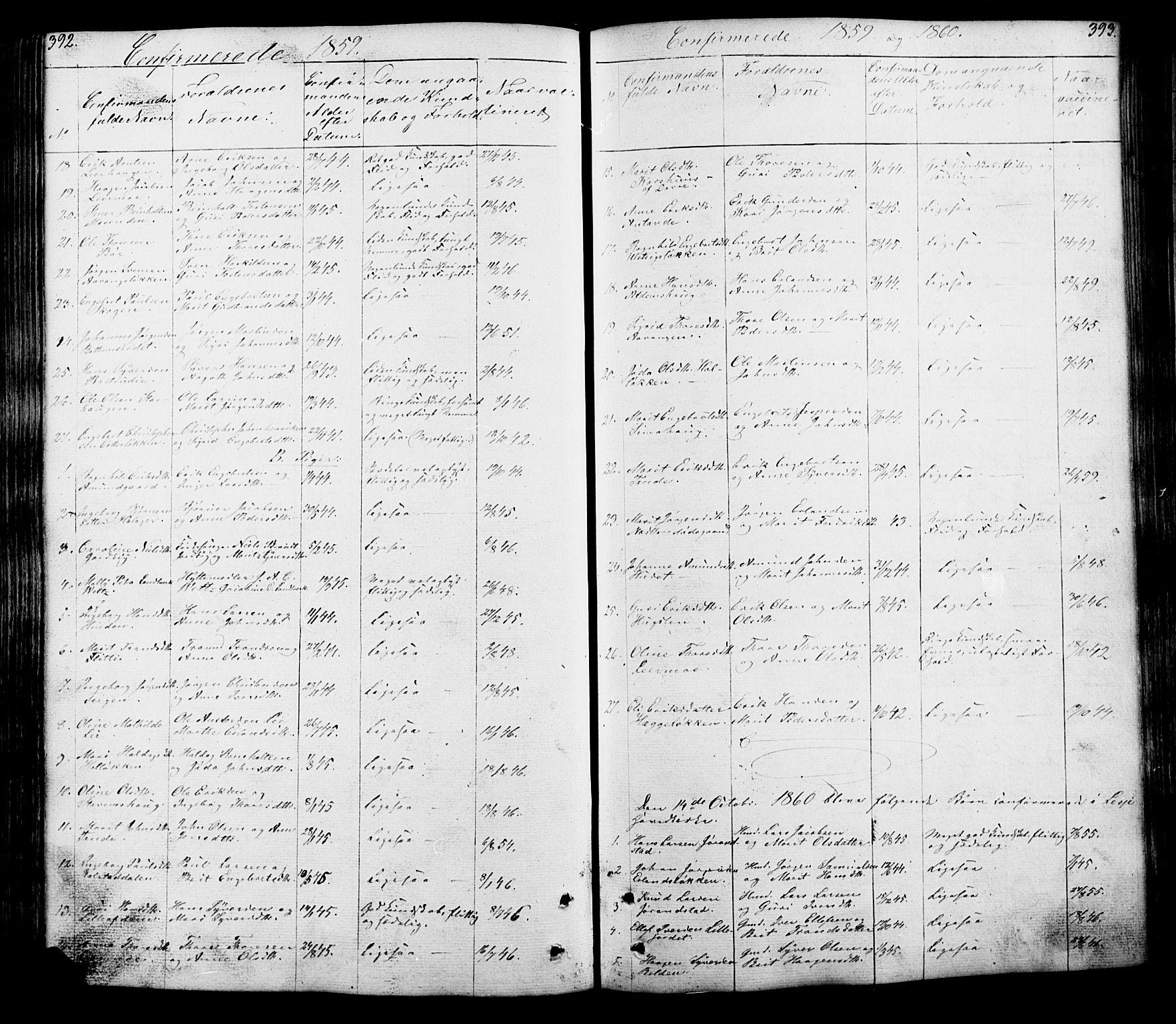 SAH, Lesja prestekontor, Klokkerbok nr. 5, 1850-1894, s. 392-393