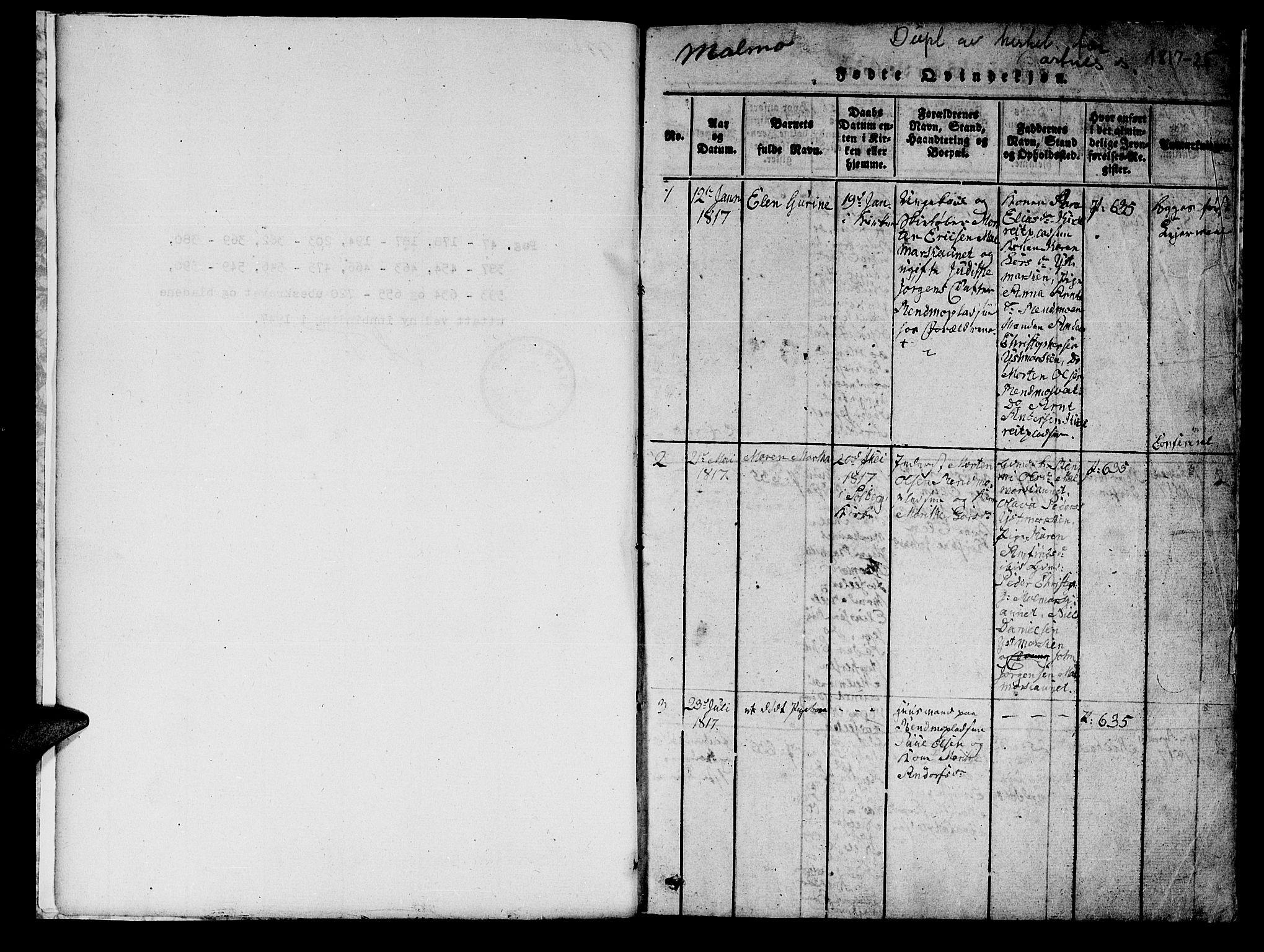 SAT, Ministerialprotokoller, klokkerbøker og fødselsregistre - Nord-Trøndelag, 745/L0433: Klokkerbok nr. 745C02, 1817-1825, s. 0-1