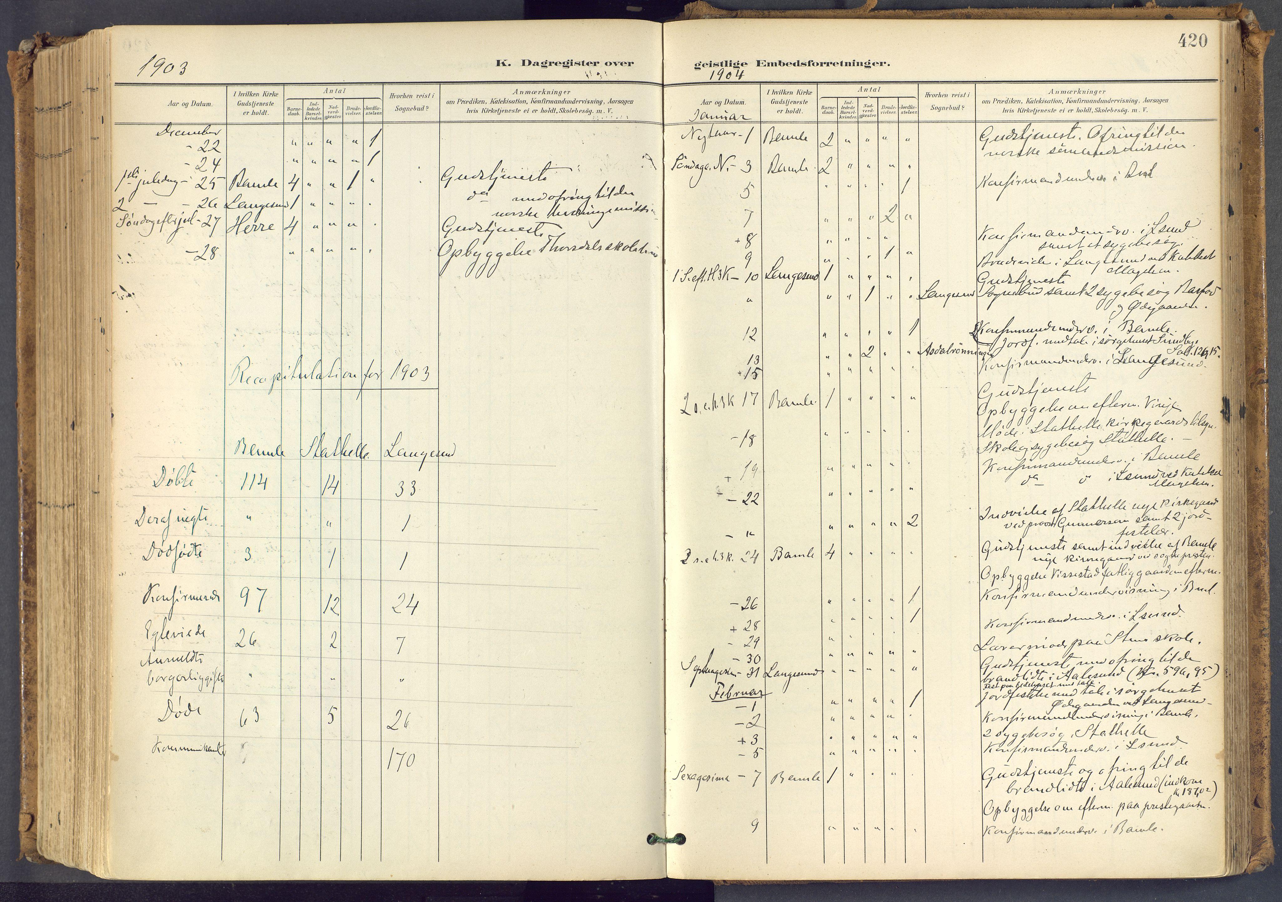 SAKO, Bamble kirkebøker, F/Fa/L0009: Ministerialbok nr. I 9, 1901-1917, s. 420