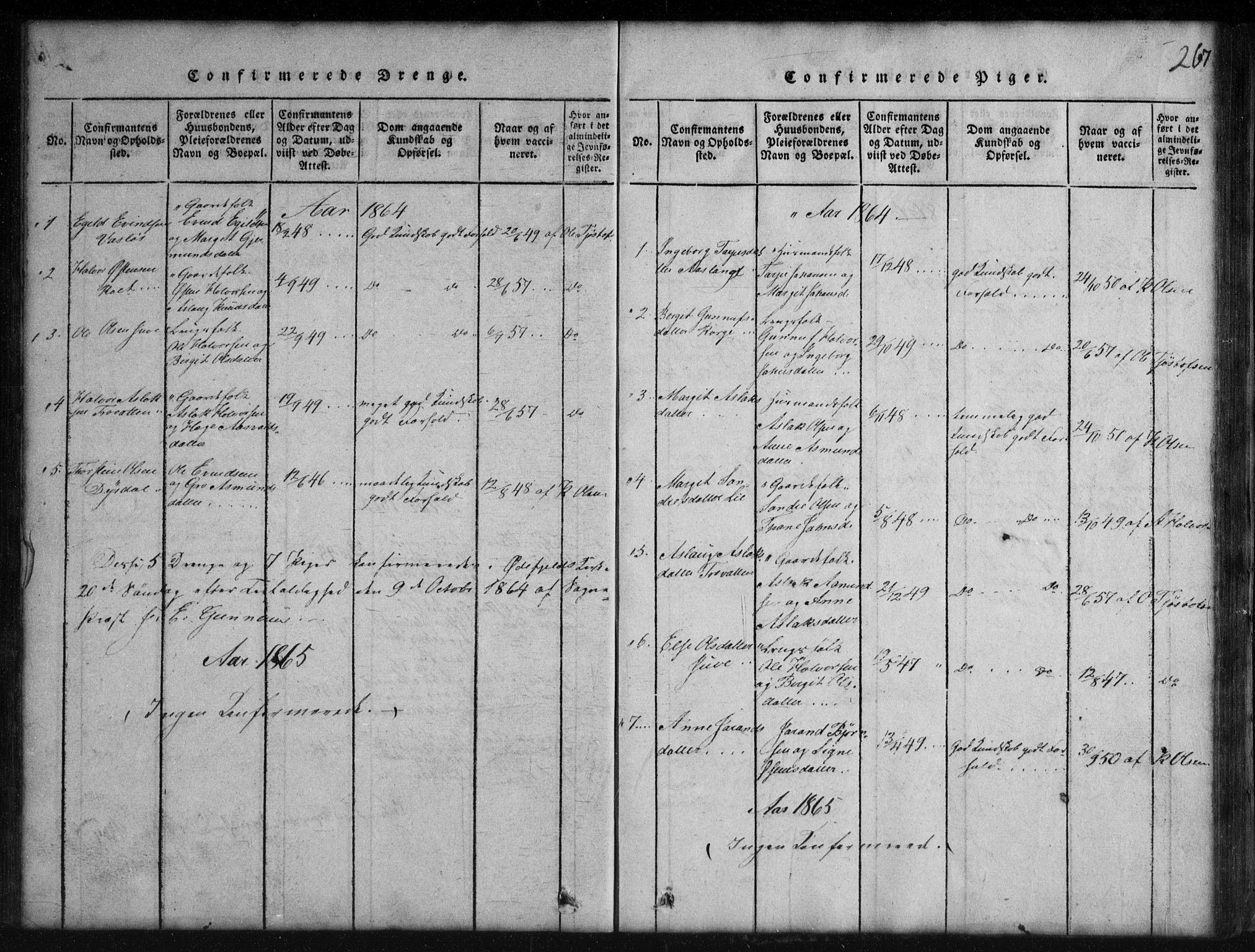 SAKO, Rauland kirkebøker, G/Gb/L0001: Klokkerbok nr. II 1, 1815-1886, s. 267