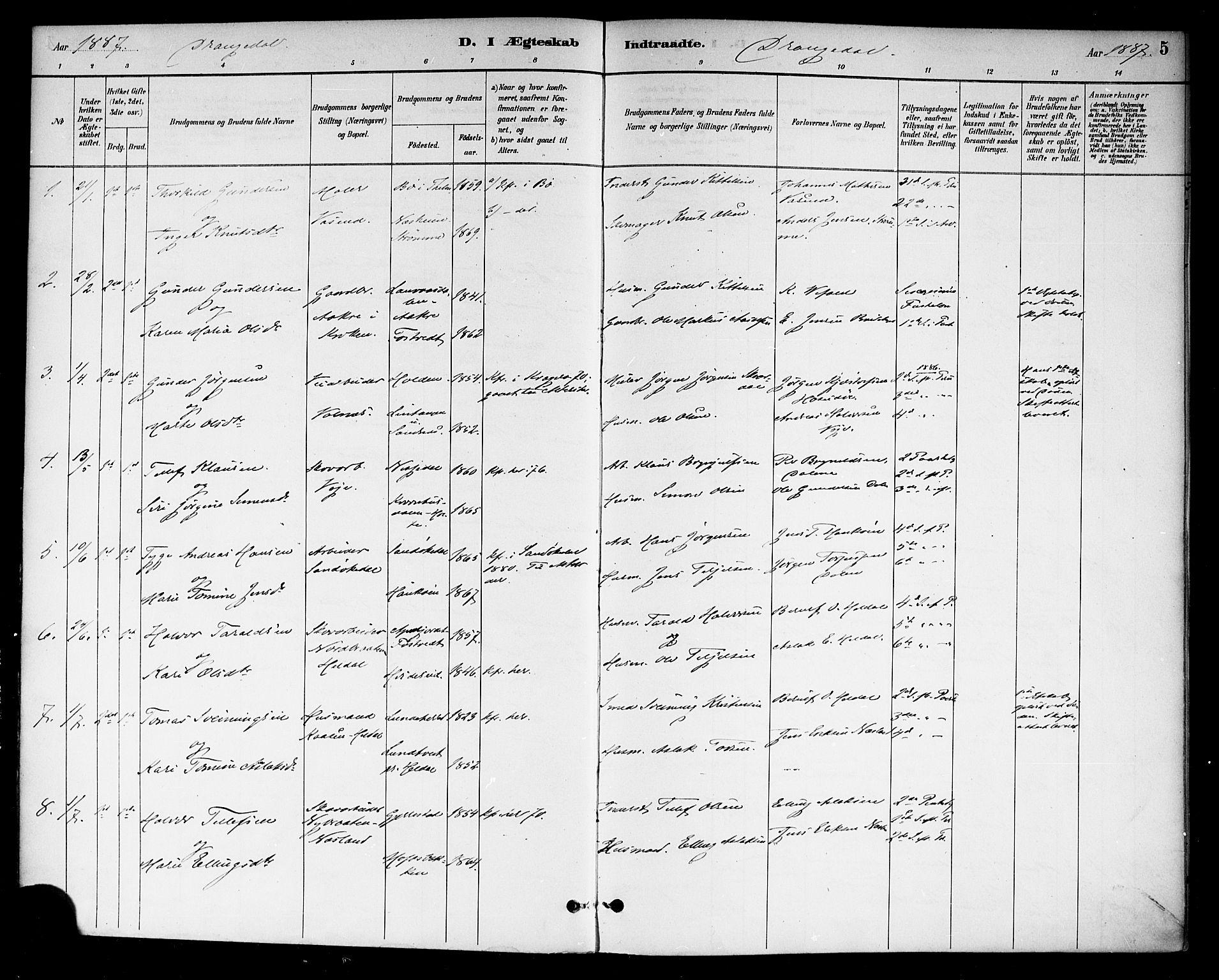 SAKO, Drangedal kirkebøker, F/Fa/L0011: Ministerialbok nr. 11 /1, 1885-1894, s. 5