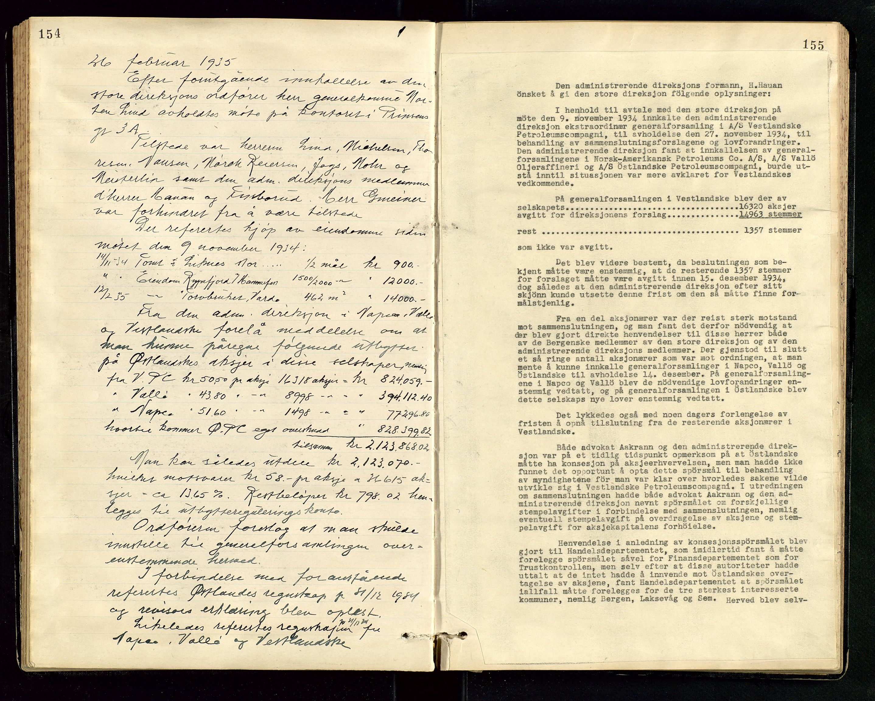 SAST, PA 1534 - Østlandske Petroleumscompagni A/S, A/Aa/L0006: Direksjonsprotokoller, 1922-1952, s. 154-155