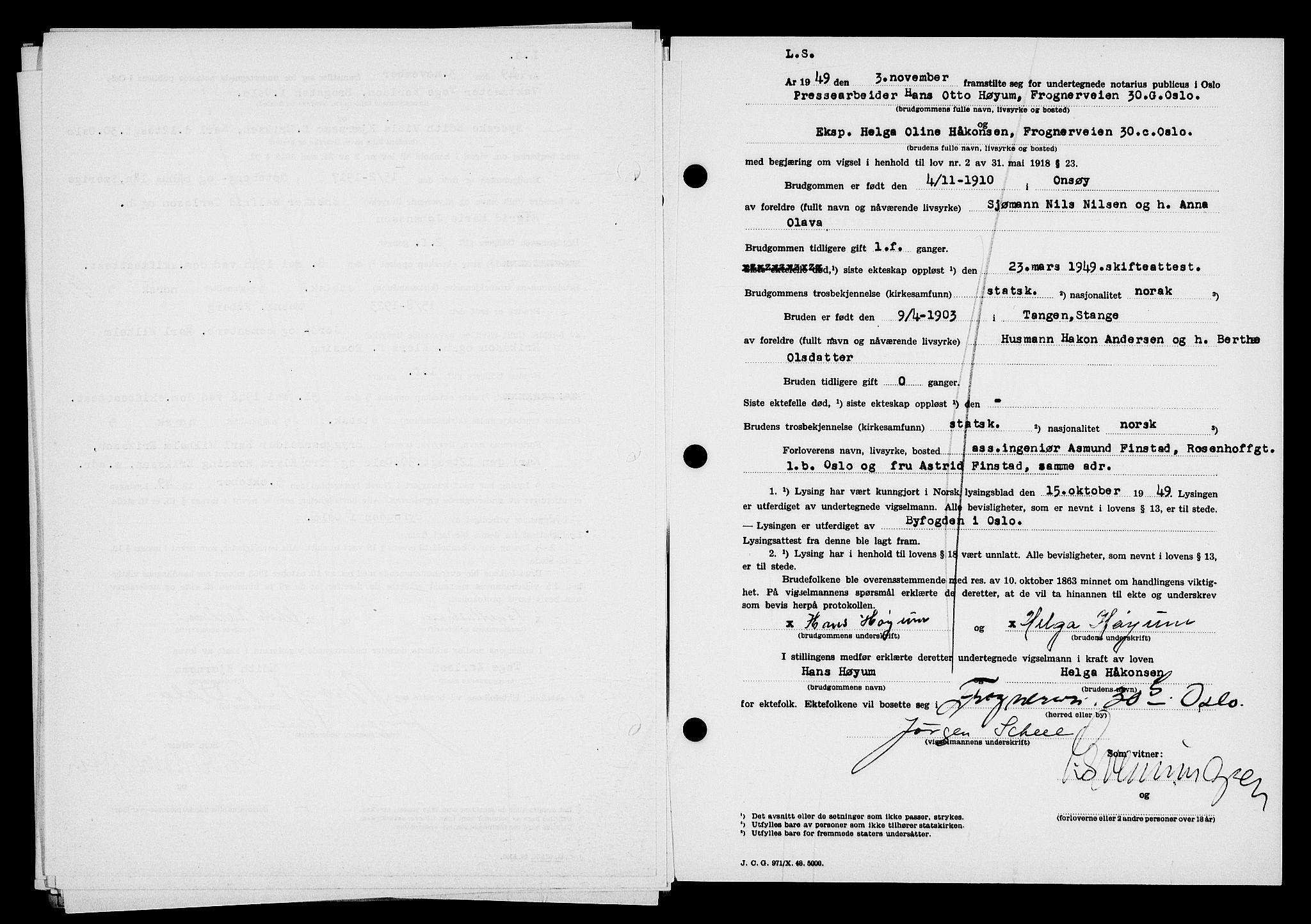 SAO, Oslo byfogd avd. I, L/Lb/Lbb/L0067: Notarialprotokoll, rekke II: Vigsler, 1949