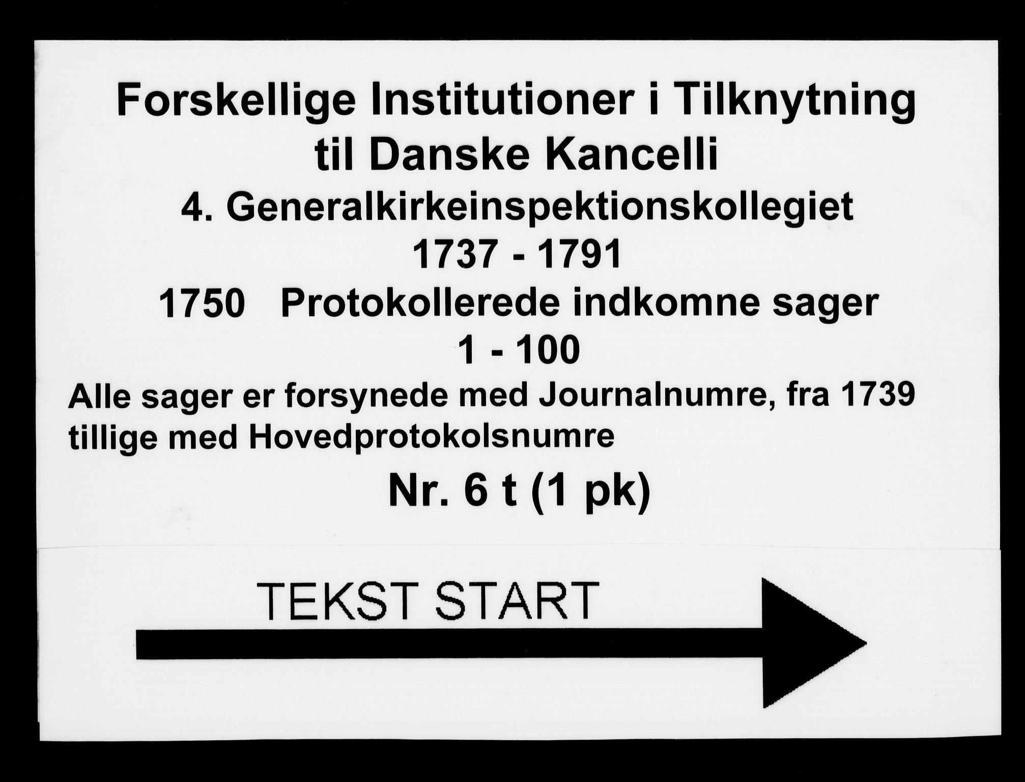DRA, Generalkirkeinspektionskollegiet, F4-06/F4-06-20: Protokollerede indkomne sager, 1750
