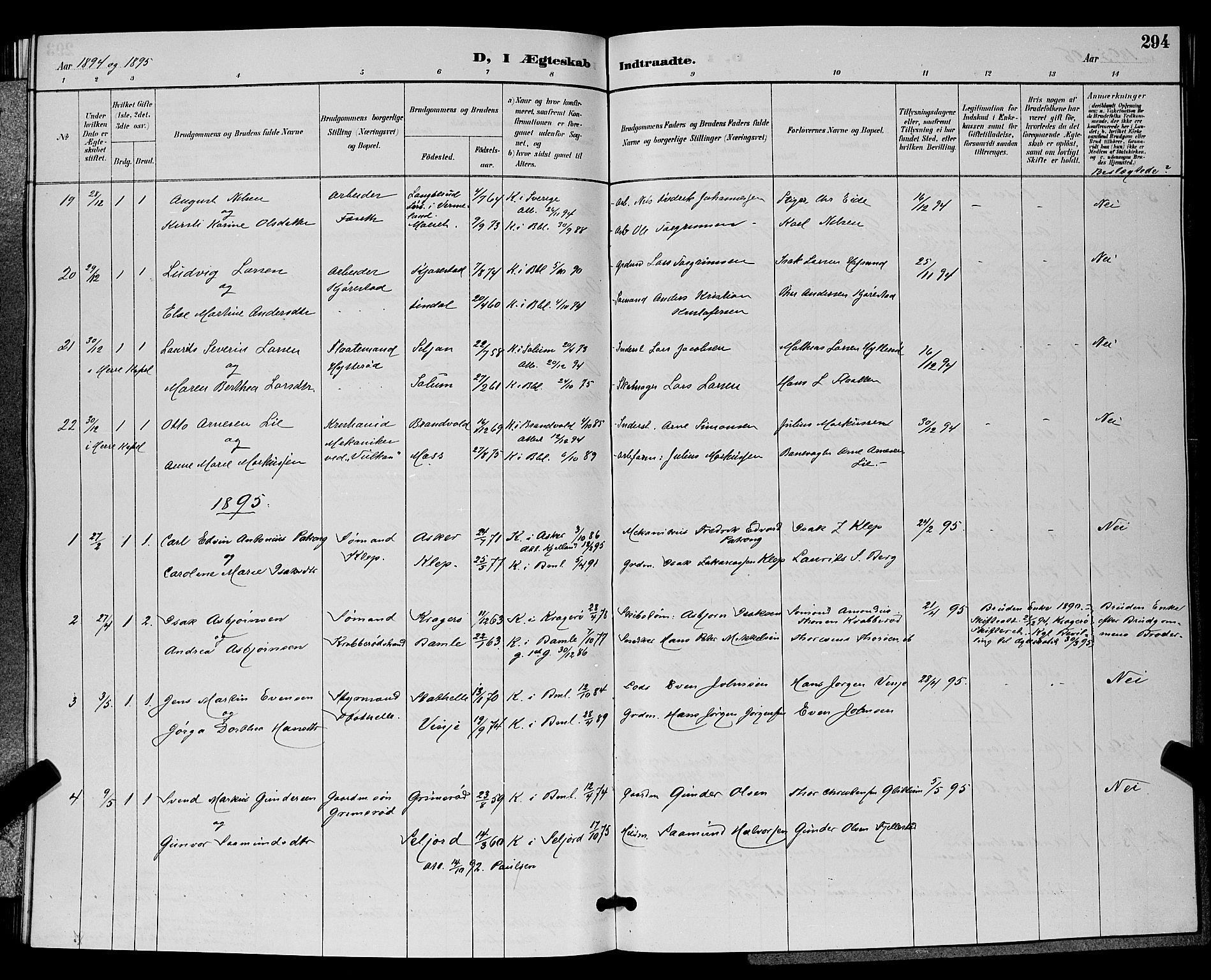 SAKO, Bamble kirkebøker, G/Ga/L0009: Klokkerbok nr. I 9, 1888-1900, s. 294