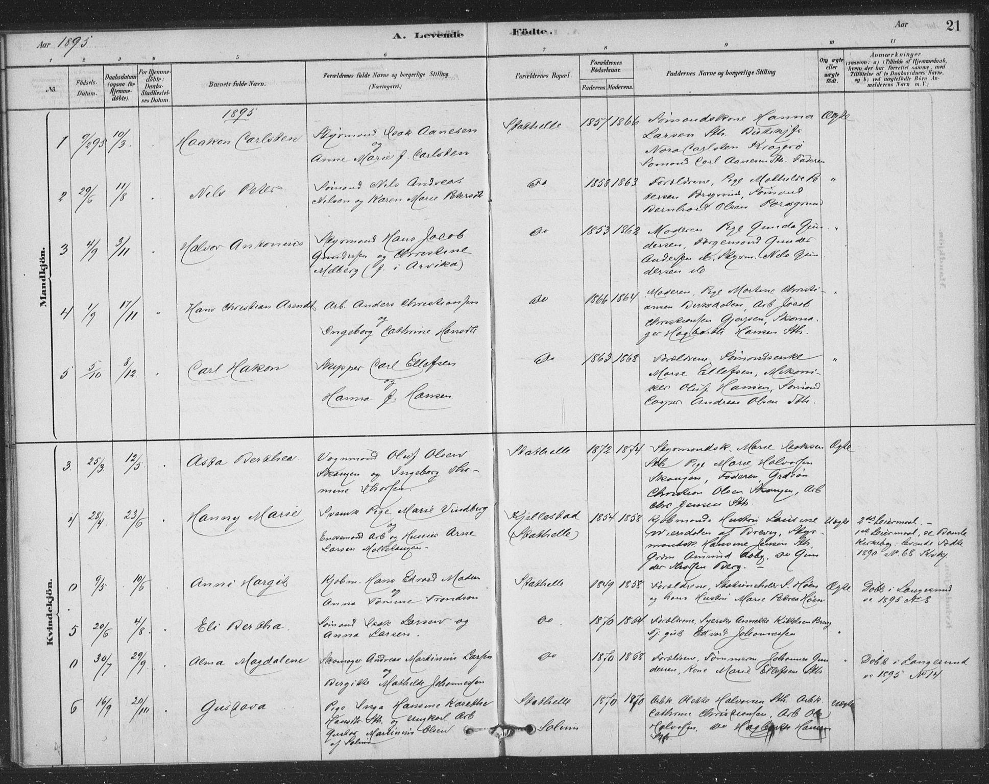 SAKO, Bamble kirkebøker, F/Fb/L0001: Ministerialbok nr. II 1, 1878-1899, s. 21