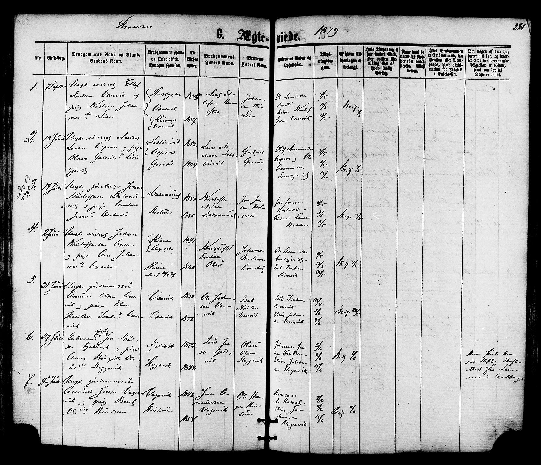SAT, Ministerialprotokoller, klokkerbøker og fødselsregistre - Nord-Trøndelag, 701/L0009: Ministerialbok nr. 701A09 /2, 1864-1882, s. 281