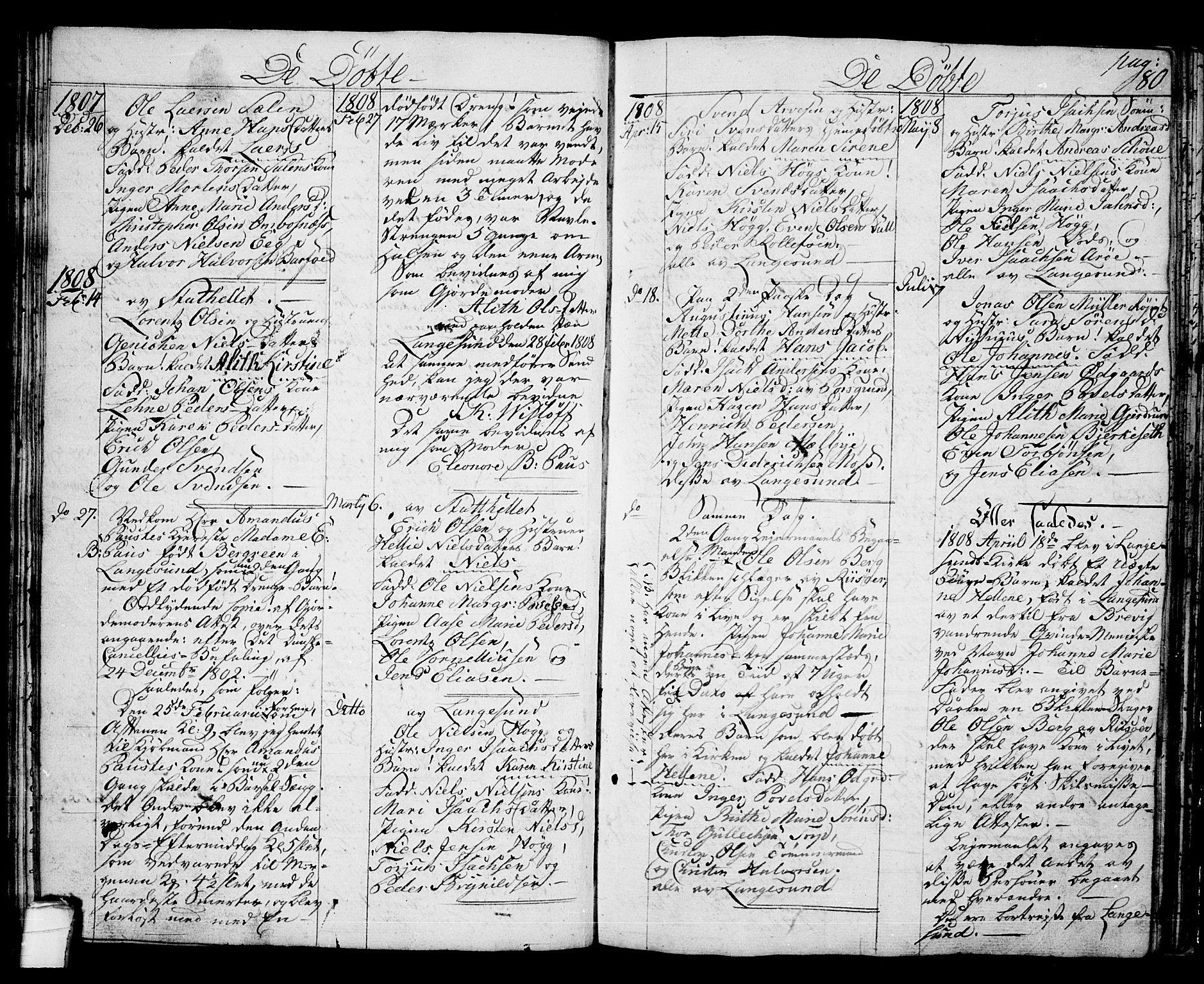 SAKO, Langesund kirkebøker, G/Ga/L0002: Klokkerbok nr. 2, 1801-1815, s. 80