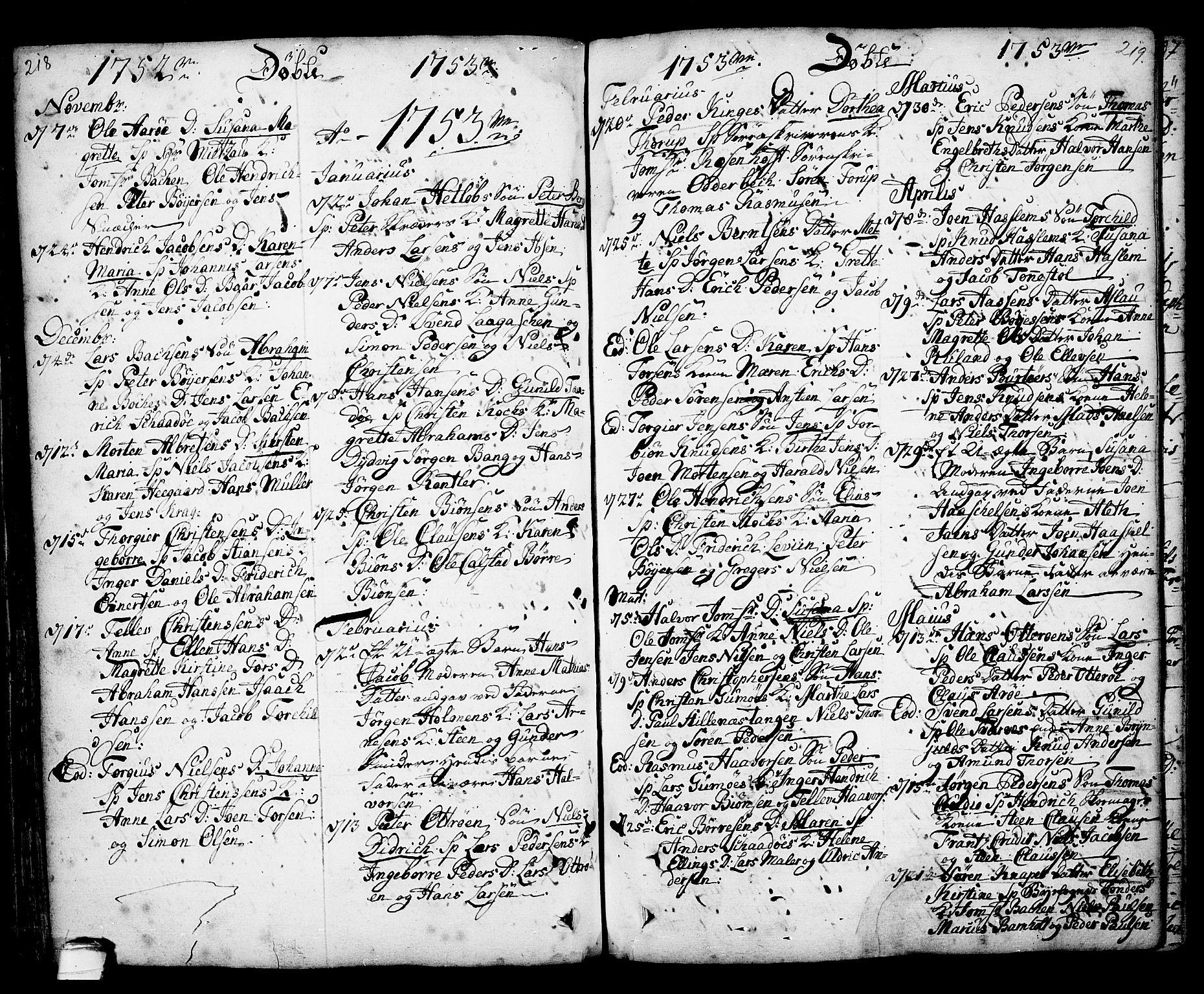 SAKO, Kragerø kirkebøker, F/Fa/L0001: Ministerialbok nr. 1, 1702-1766, s. 218-219