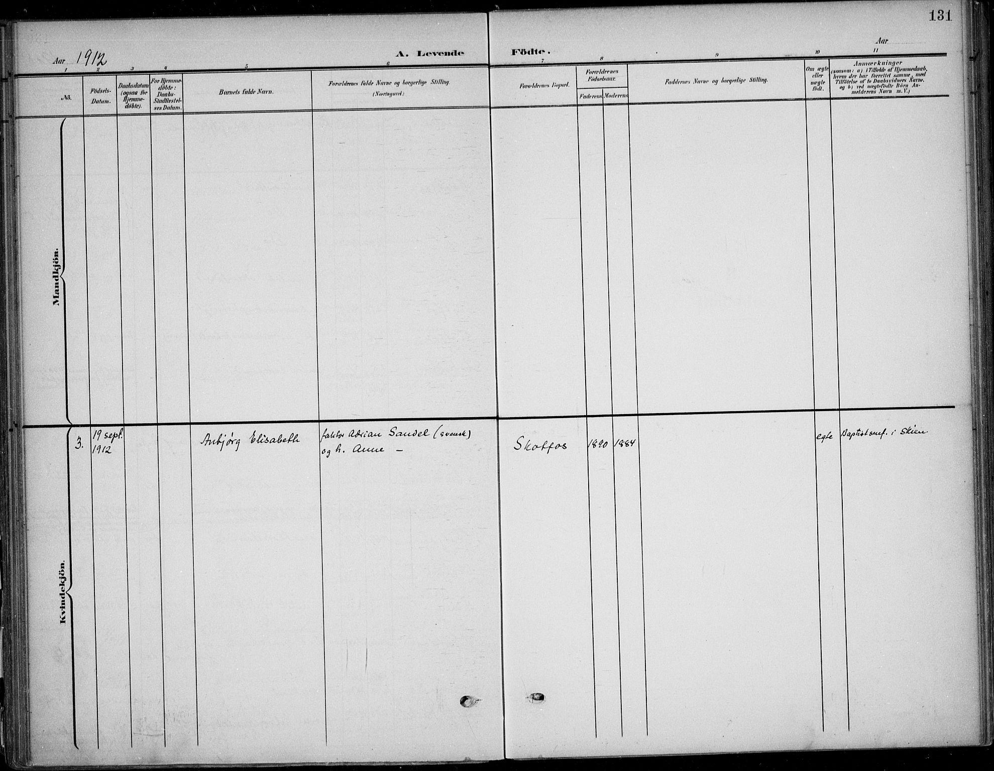 SAKO, Solum kirkebøker, F/Fb/L0003: Ministerialbok nr. II 3, 1901-1912, s. 131